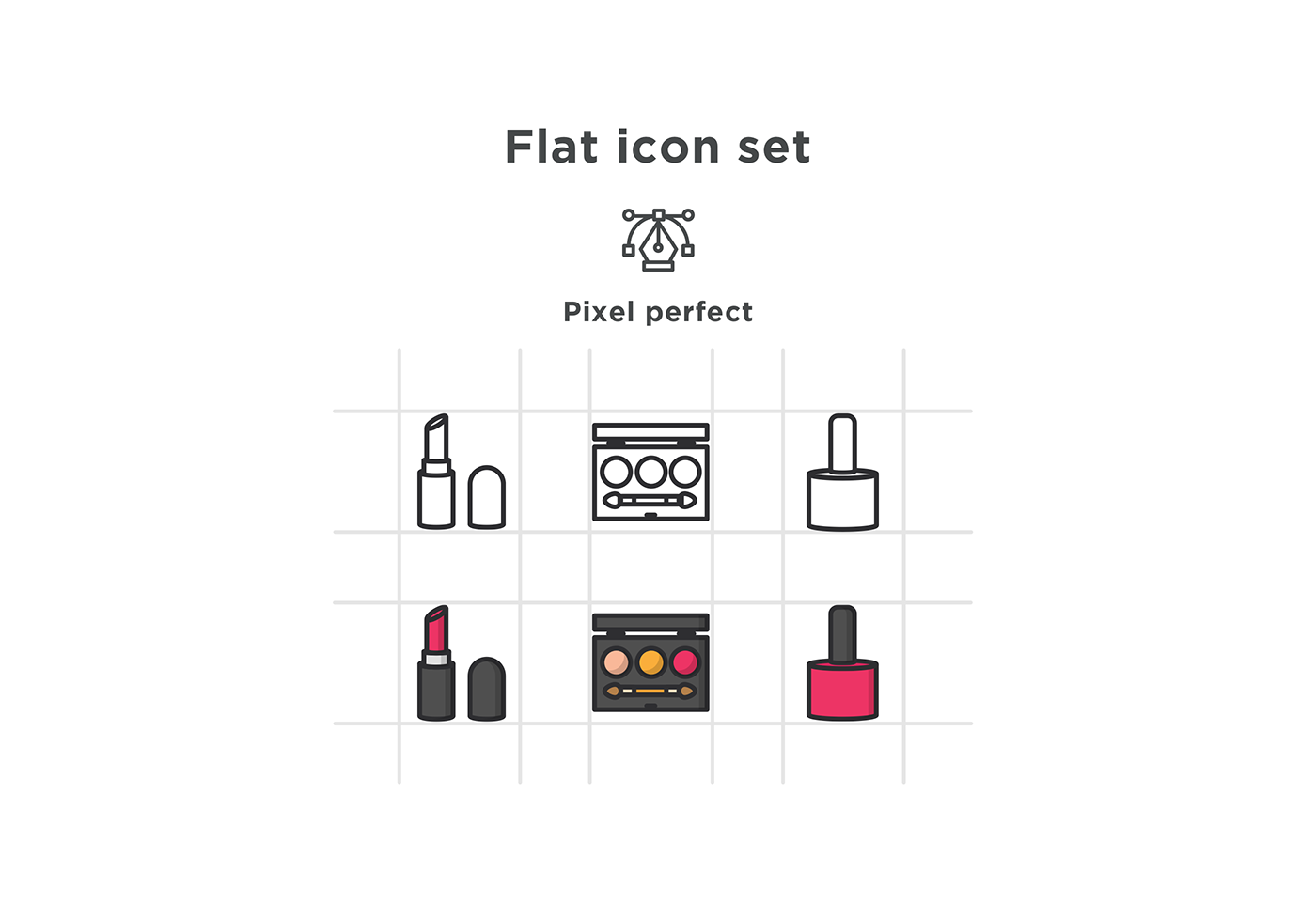 free icons free download Icon flat Cosmetic free icon lipstick mirror foundation
