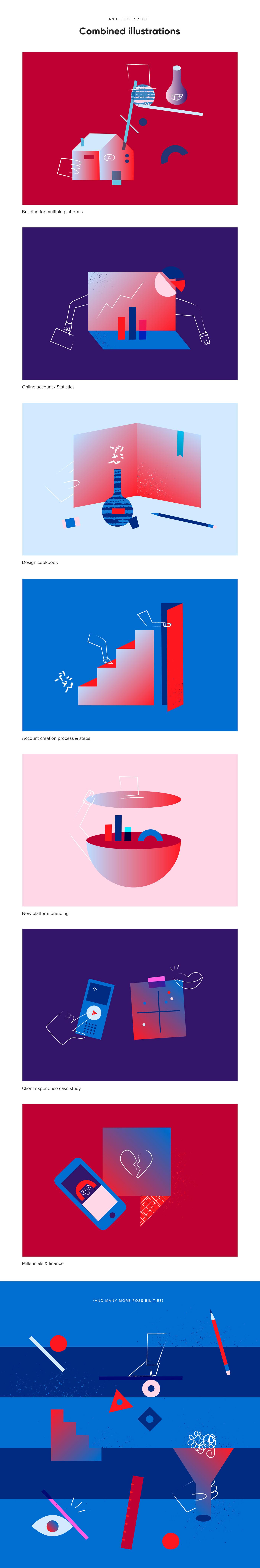 ILLUSTRATION  vector design sytem Bank characters geometric textured corporate finance design