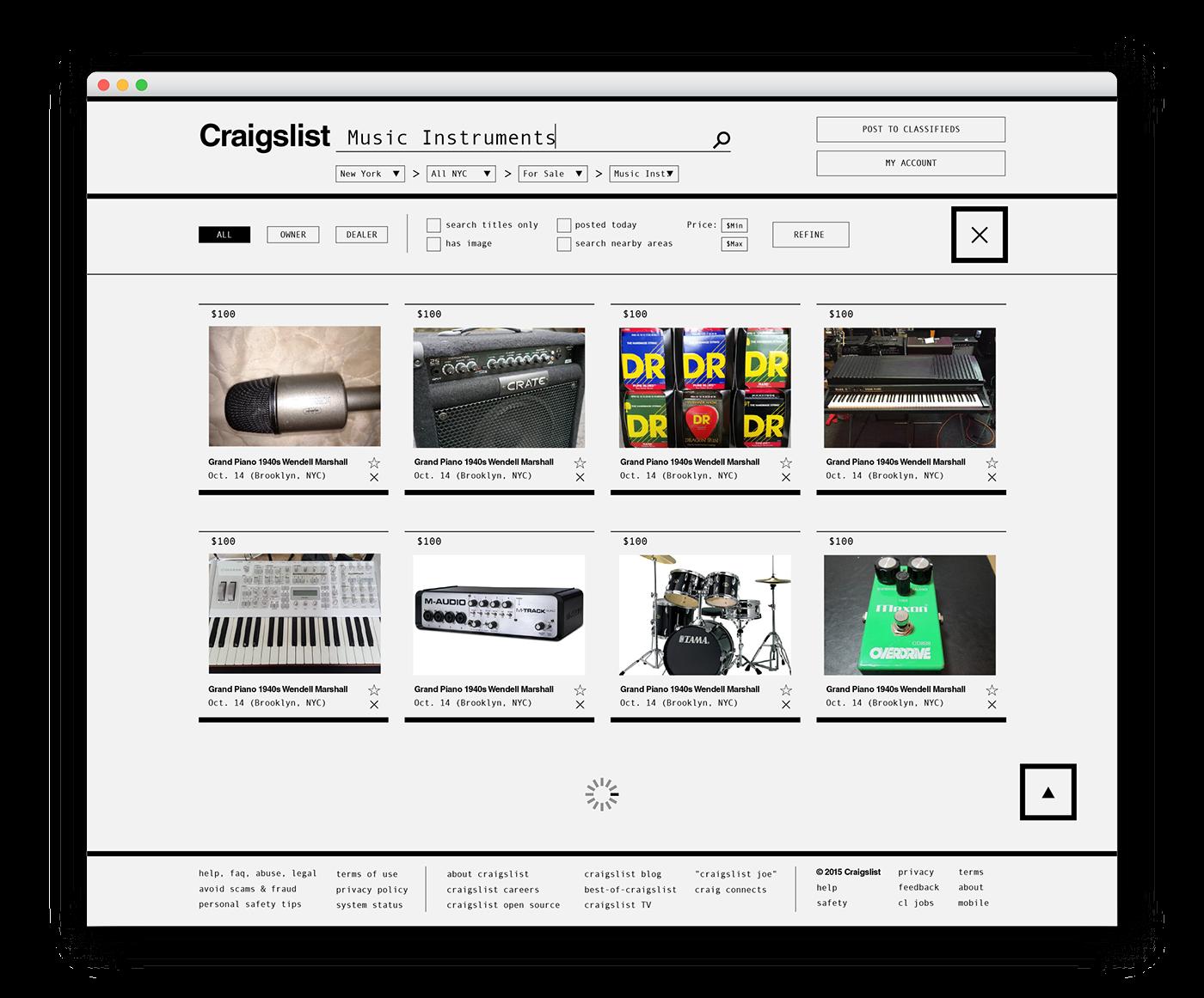 craigslist Craigs list redesign sva mfadesign black and white monochrome Listings