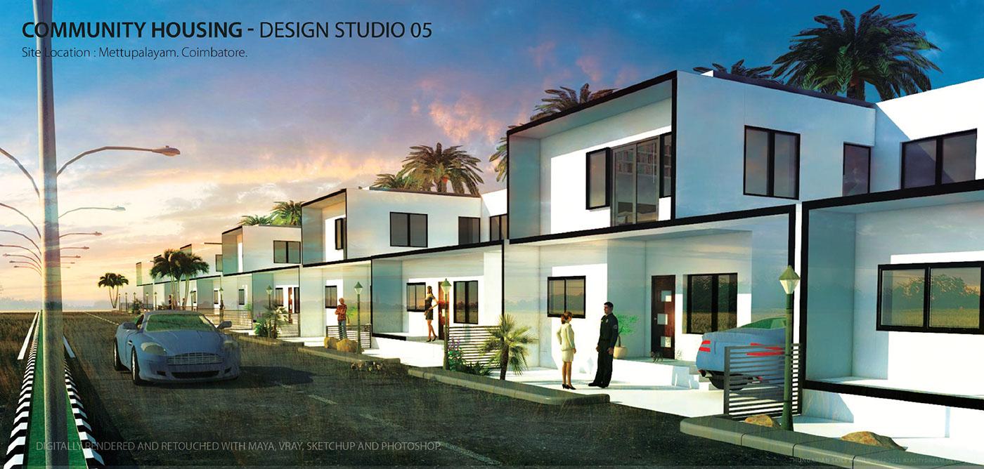 barani,portfolio,architectural,Undergraduate,archi,rendering,photoshop,SketchUP,vray,India