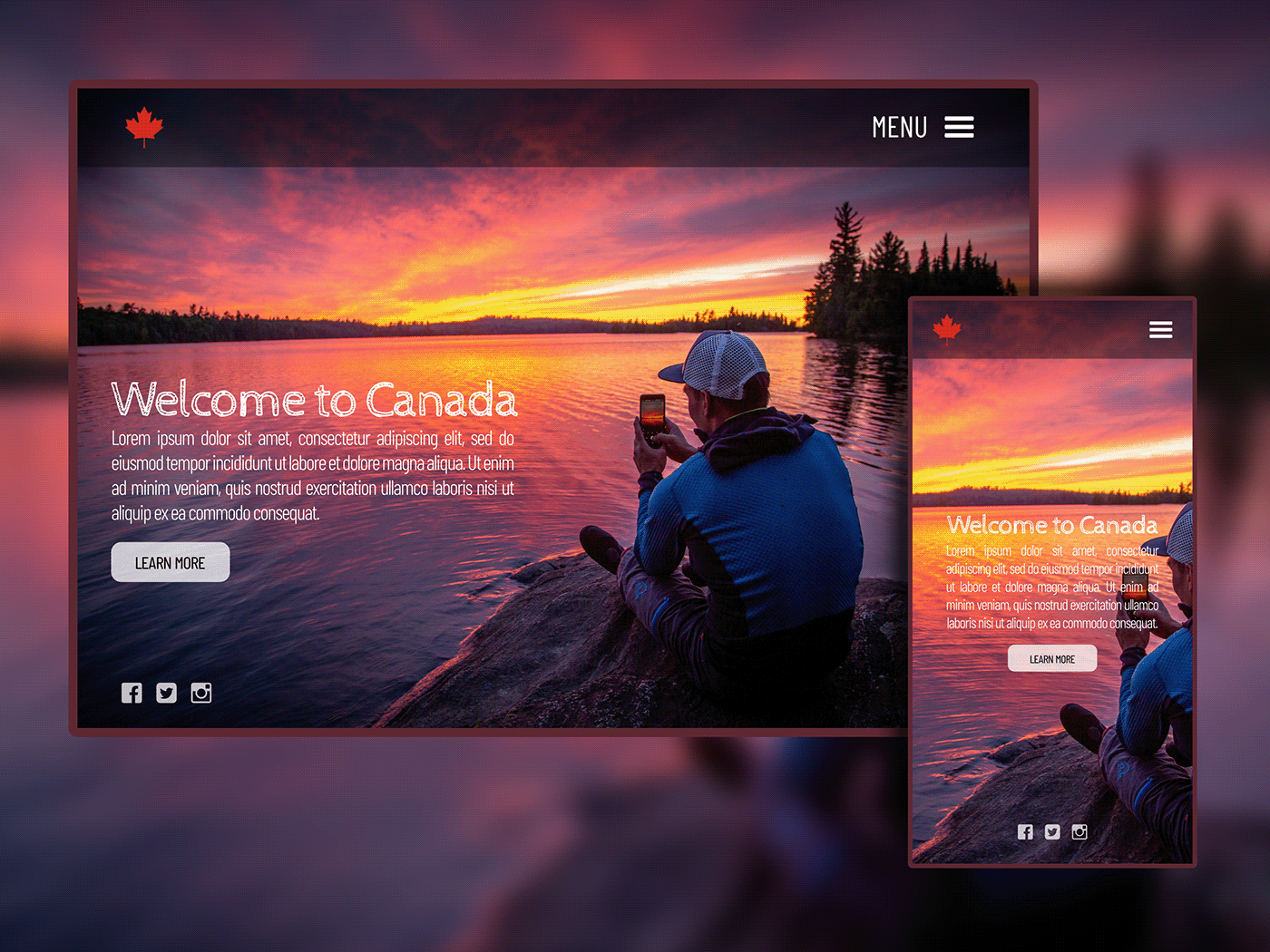 Canada design tourism landing page Web Design