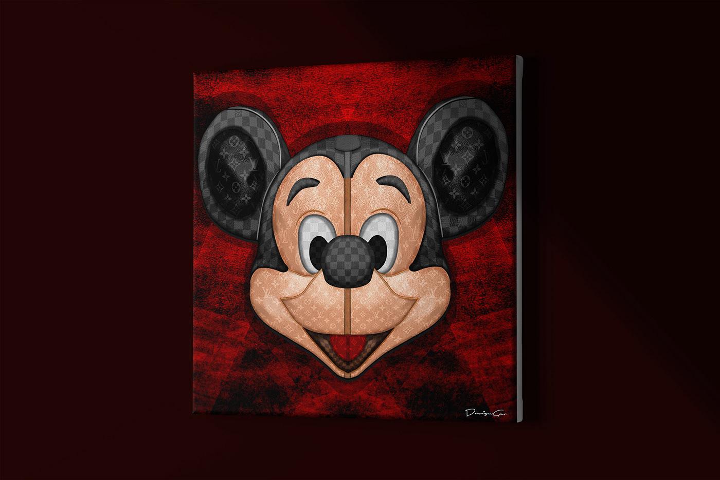 Digital illustration of a Louis Vuitton Mickey Mouse. Technique: Photoshop. DesignGeo