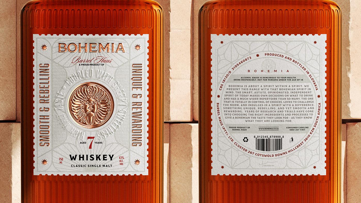 Bohemia Whiskey Label Details.