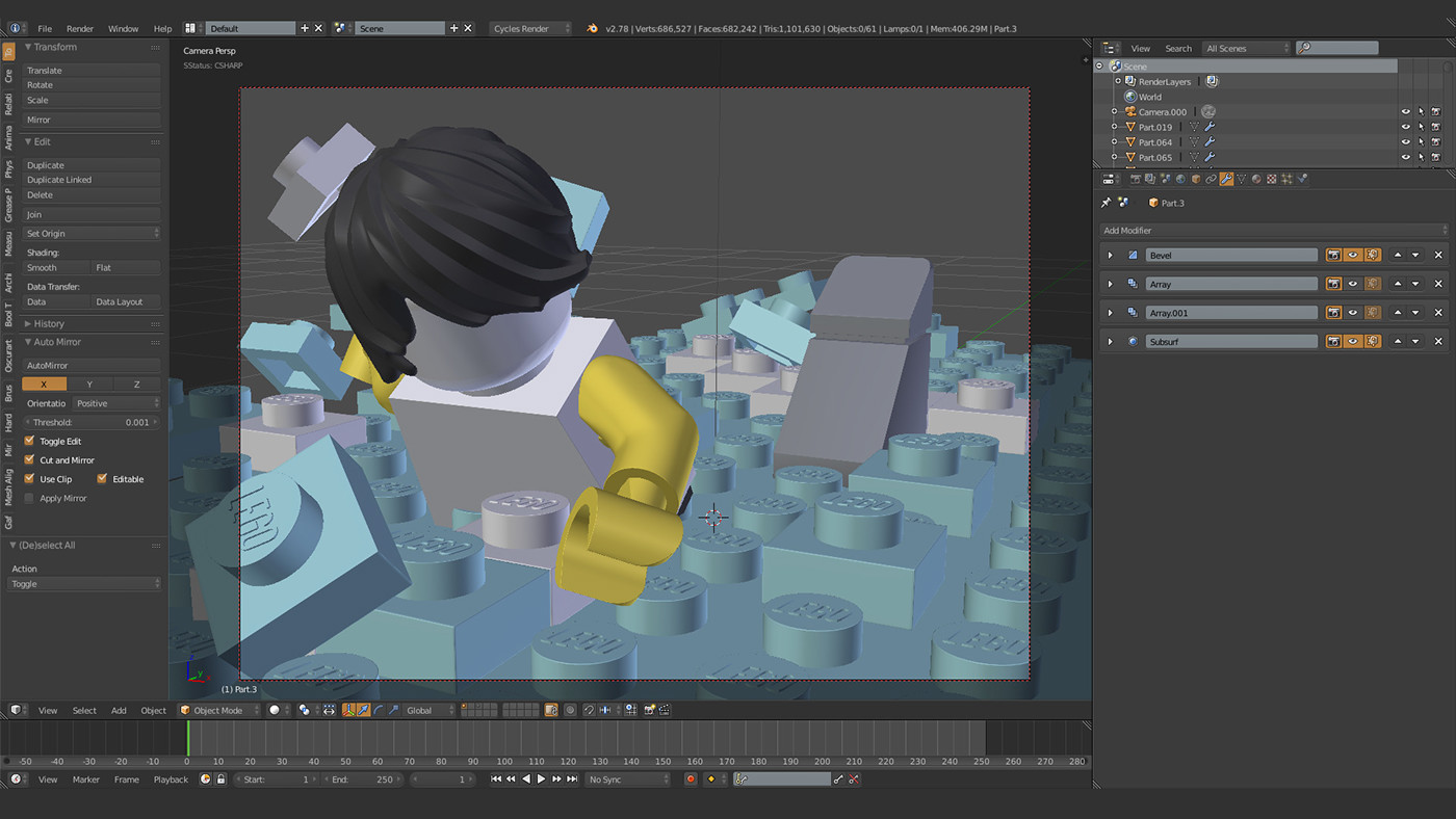 b3d,Render,CGI,filmic,LEGO,shark