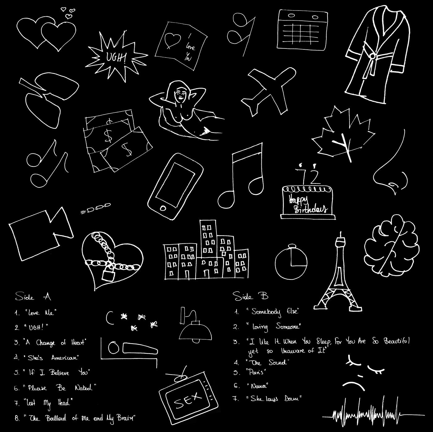 vinyl the 1975 band music record black and white handwriting Paris Album cover