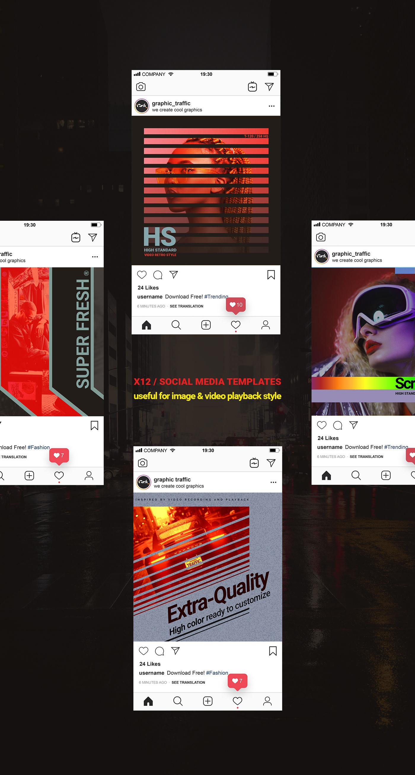 instagram template Retro Style futuristic free download editable social media 模板 post