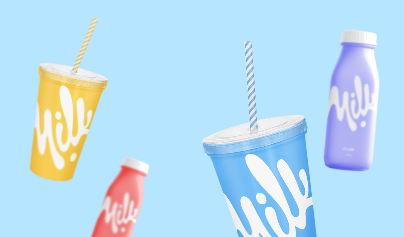 milk colours Fast food drink brand cup milk bar package White Flavours