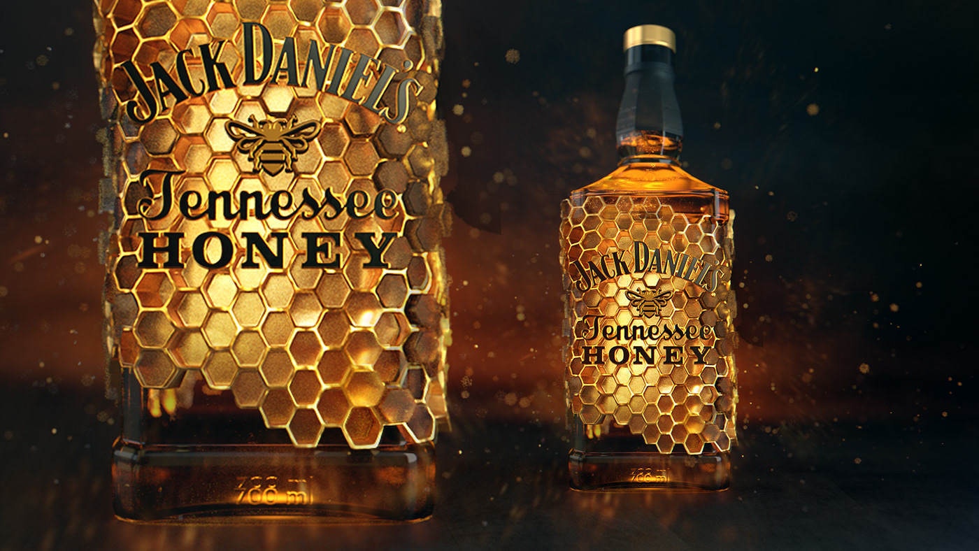 3D arnold cinema4d gold honey jack daniels
