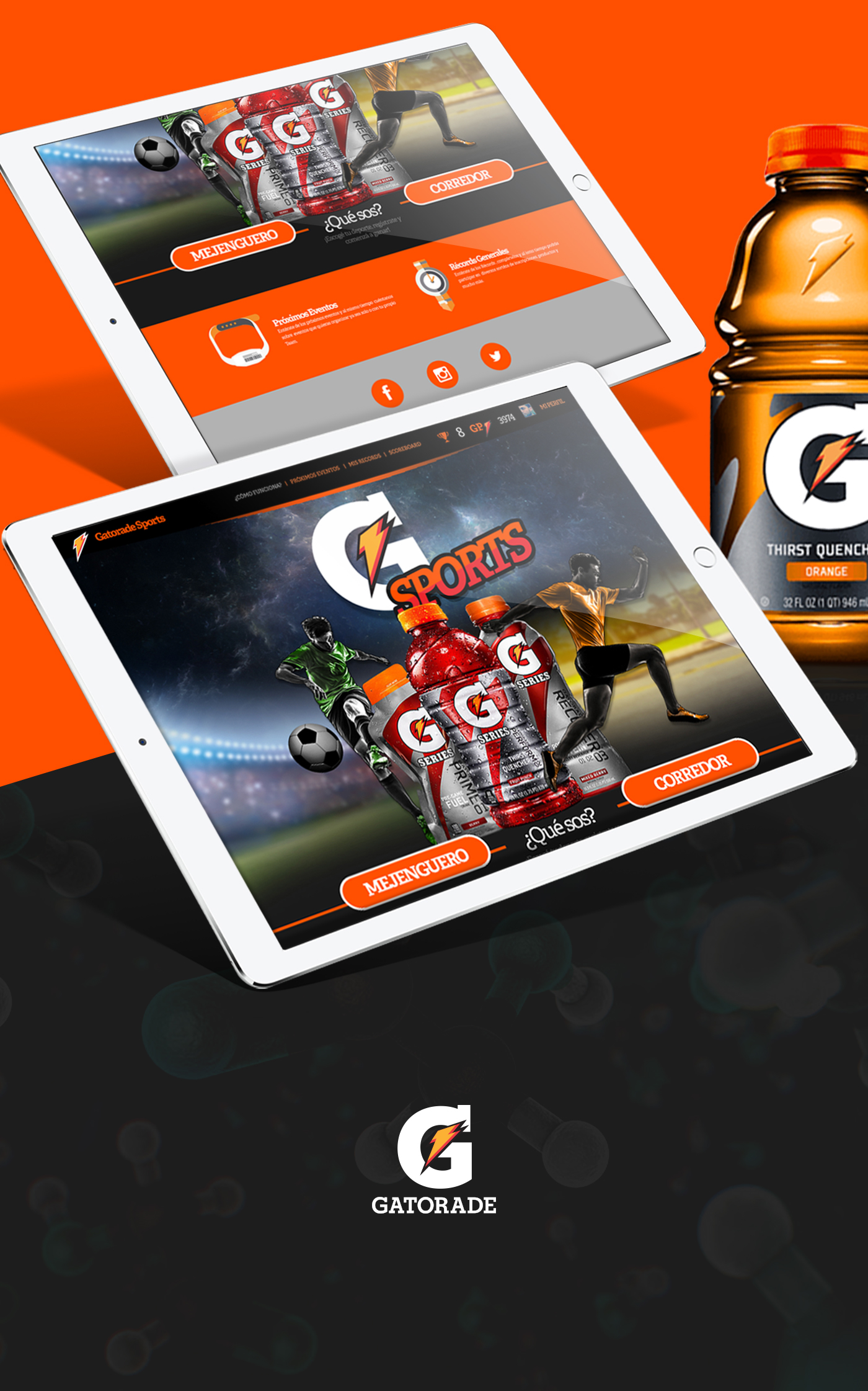 design dimernet gatorade sport run football app iPad Web orange drink energy