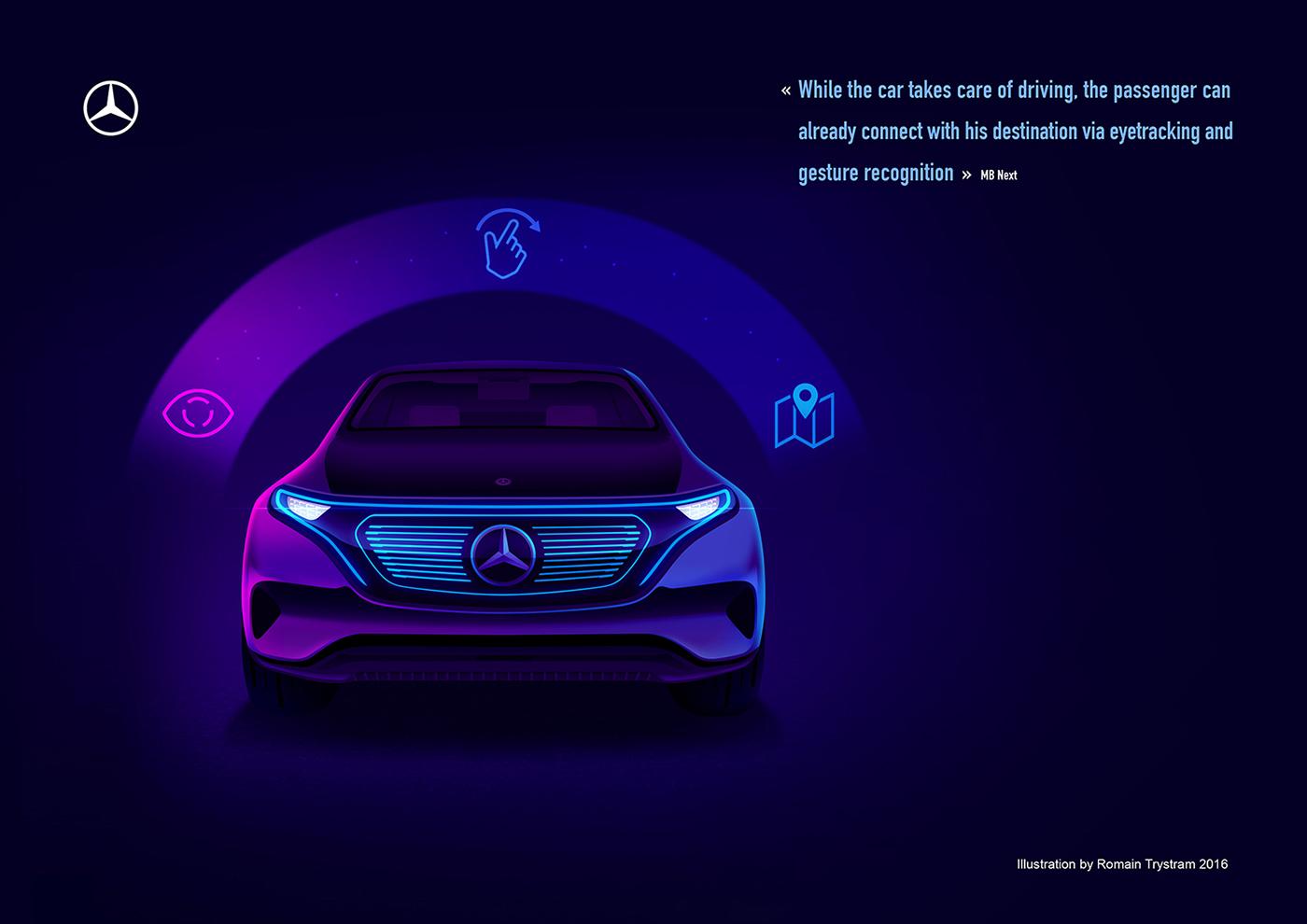 mercedes connected Data Technology futur IoT car trystram neon skyline