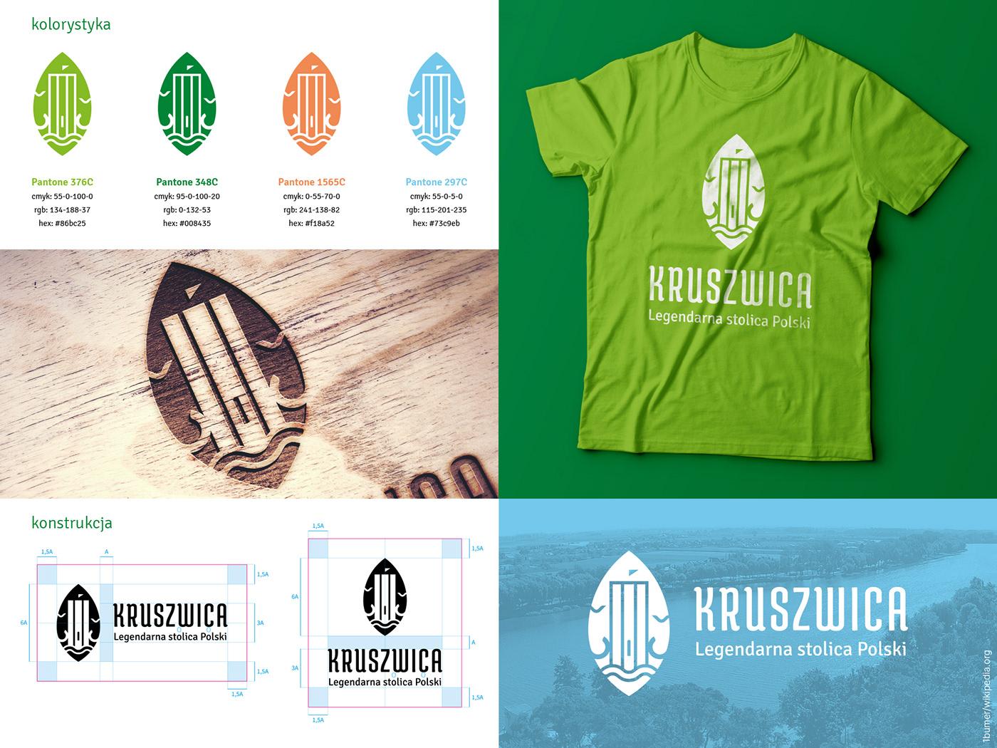 heritage identity kruszwica lake leaf logo Nature tower town