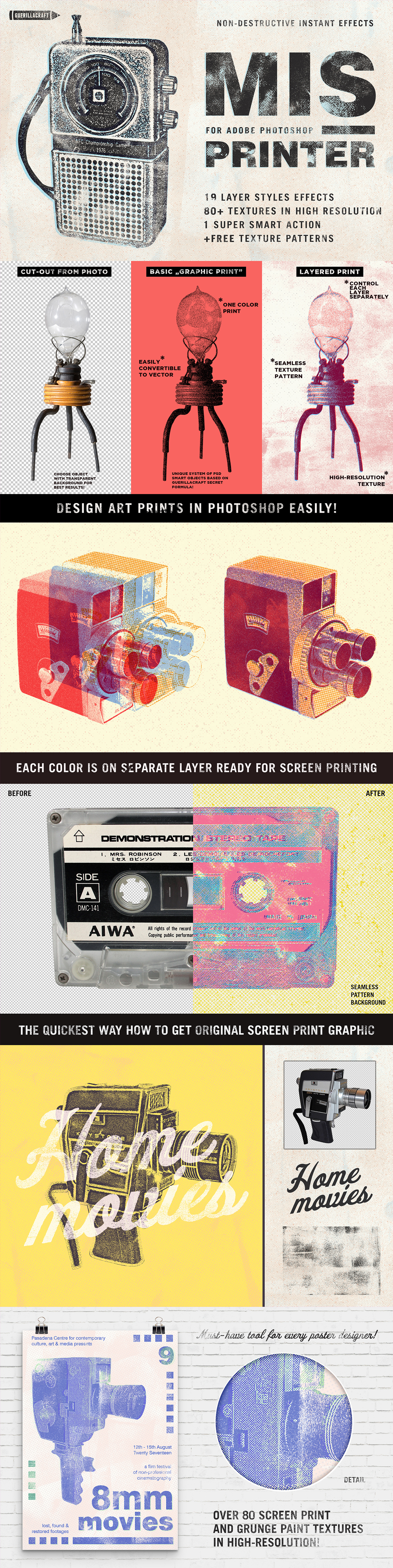 photoshop effects Retro vintage poster gig print freebie free textures photoshop actions