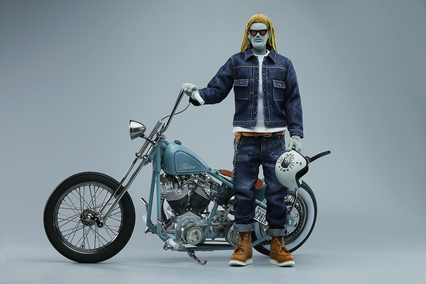 arttoy artwork biker Custom figure handcrafted handmade limited edition motorcycle vintage