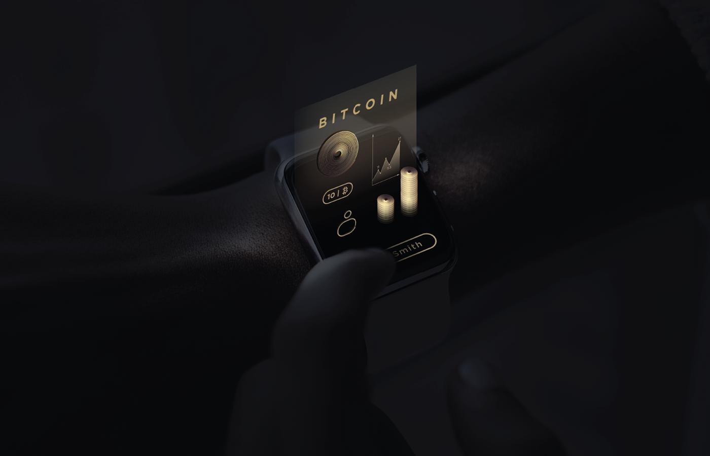 concept bitcoin gold future world hologram galaxy particles blockchain Data