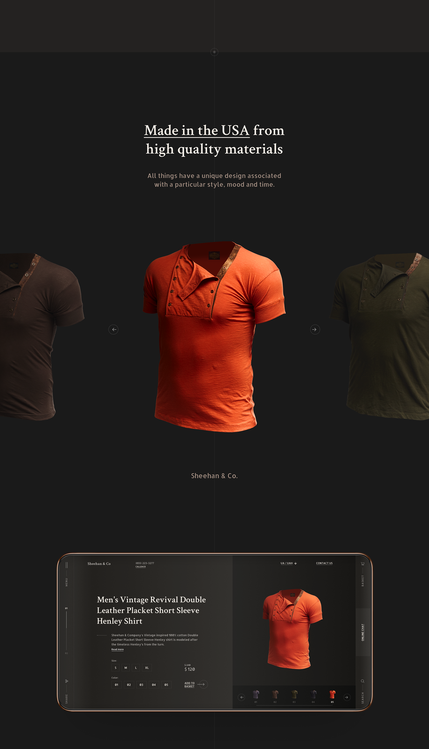 Fashion  brand luxury vintage online store Web Design  concept minimal Sheehan