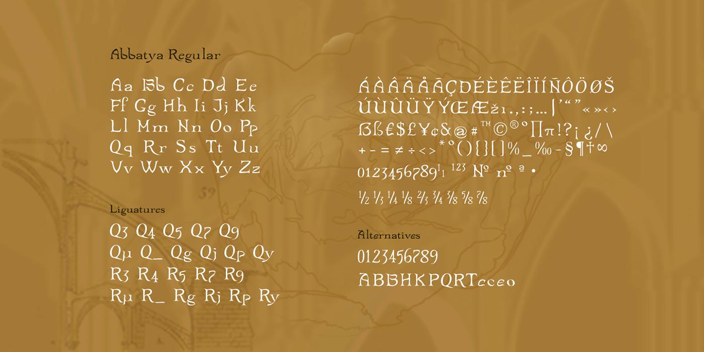 architecture gotique fantaisiste medievale serif Typographie typo