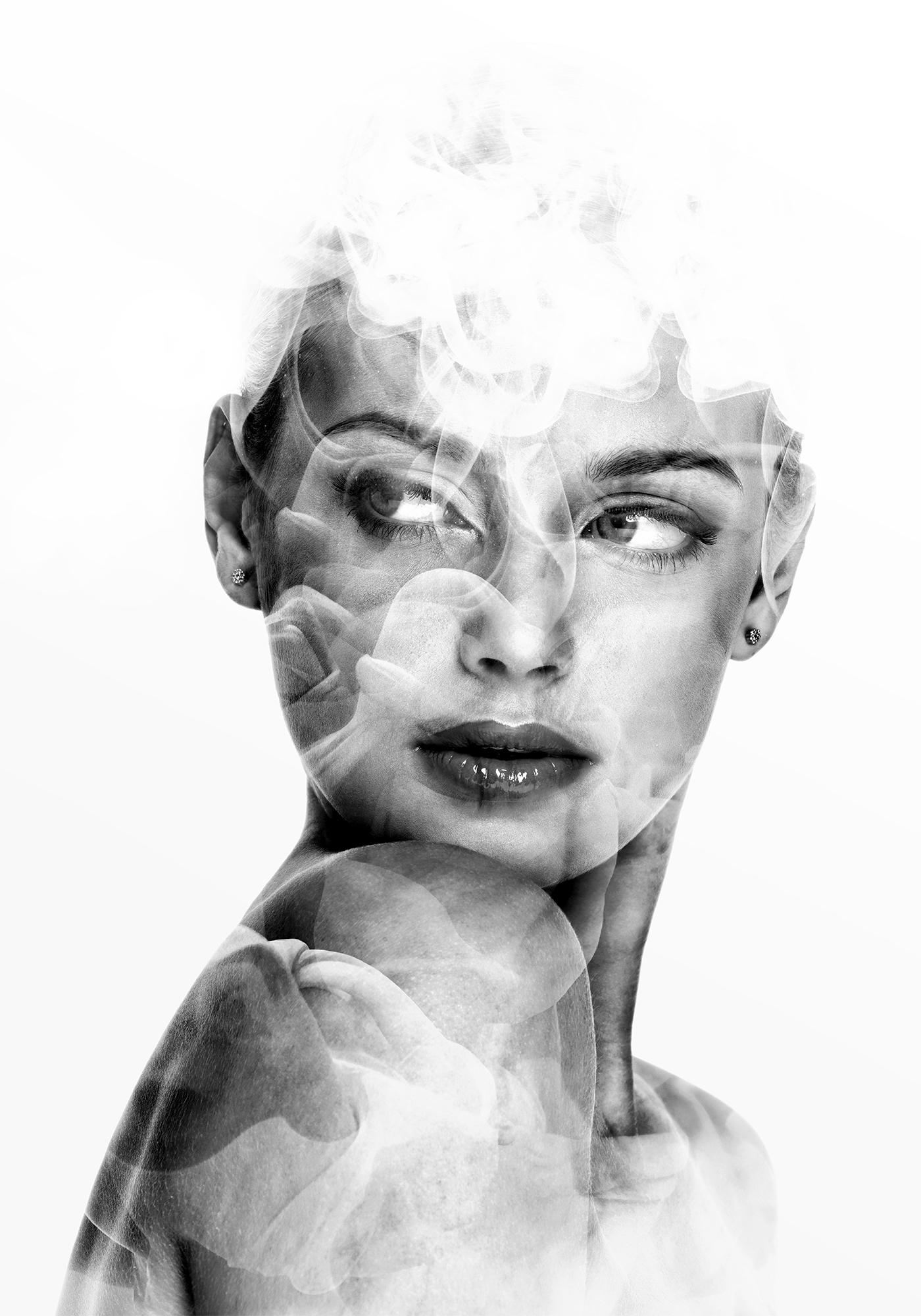 portrait woman beauty black/white colors Nature double exposure multiple exposure Emi Haze emi haze art