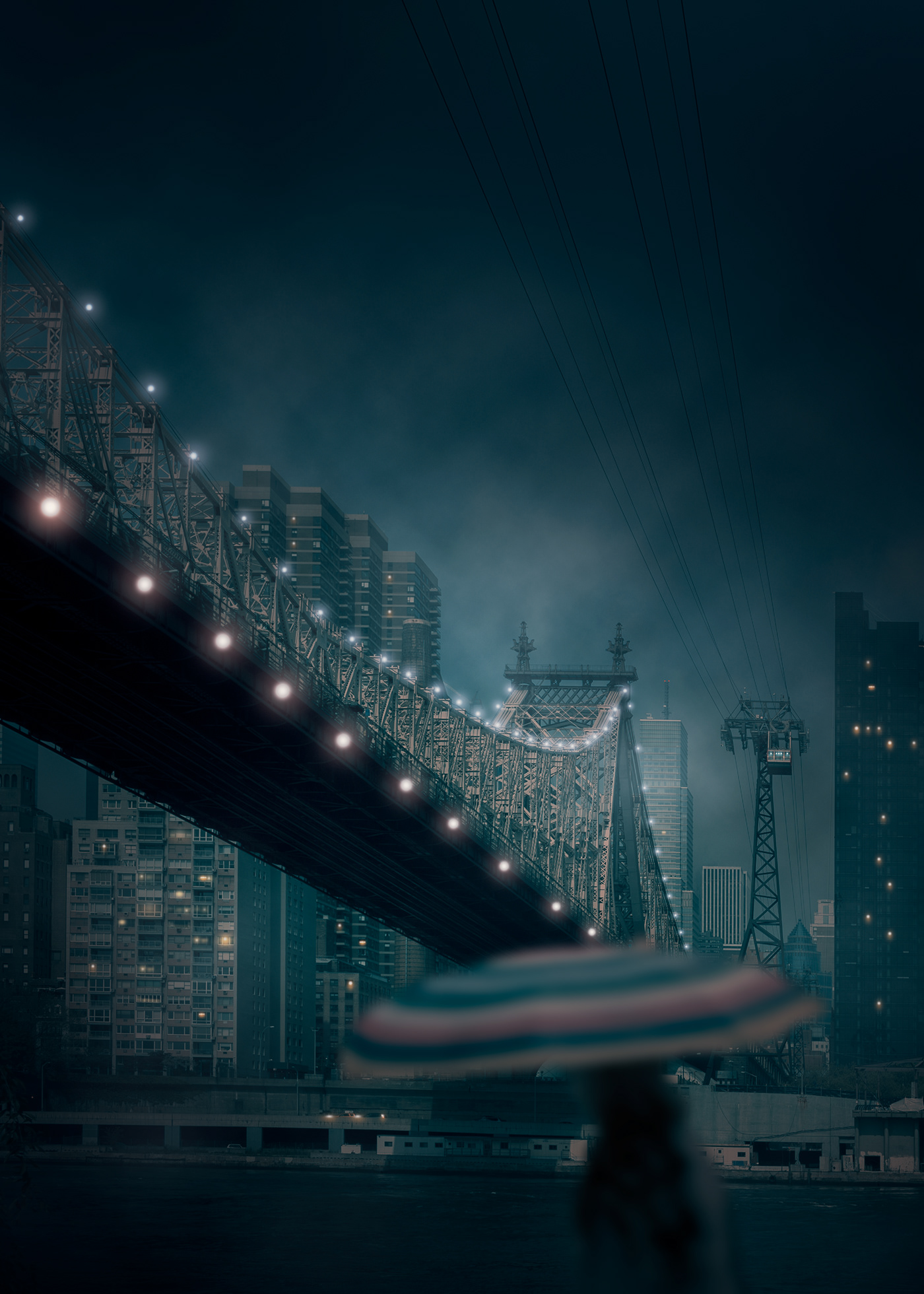 Image may contain: skyscraper, bridge and sky