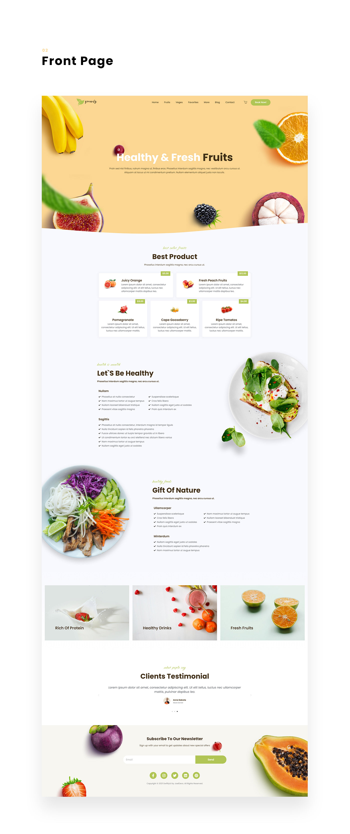 Ecommerce elementor fitness Fruit graphic design  Health UI ux vegetable Web Design