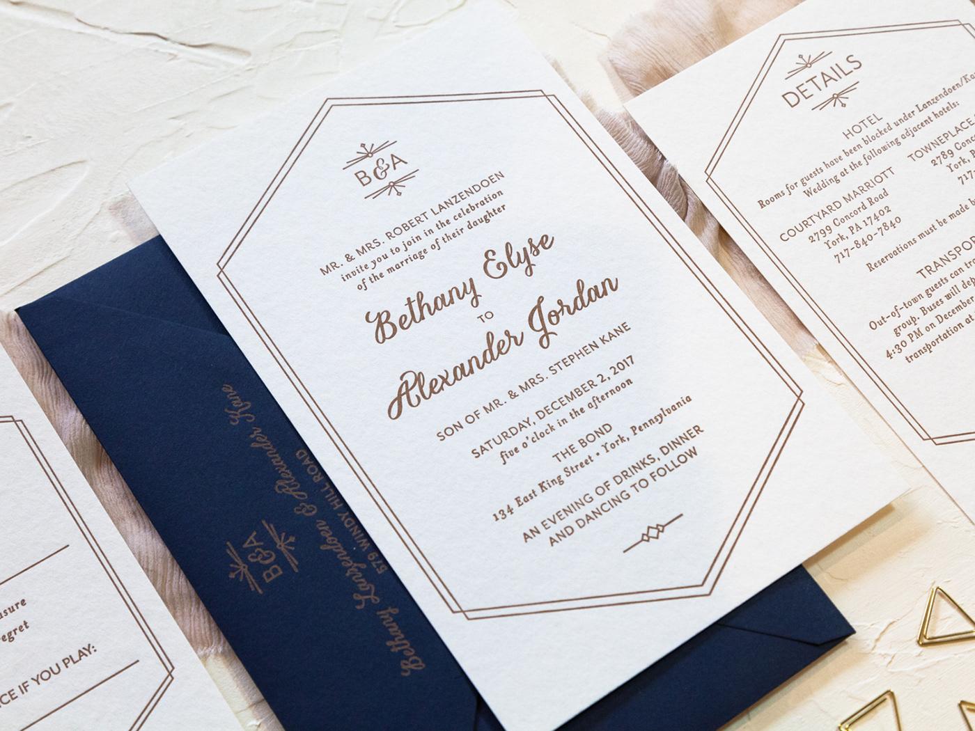 Bethany & Alex Wedding Invitations on Behance