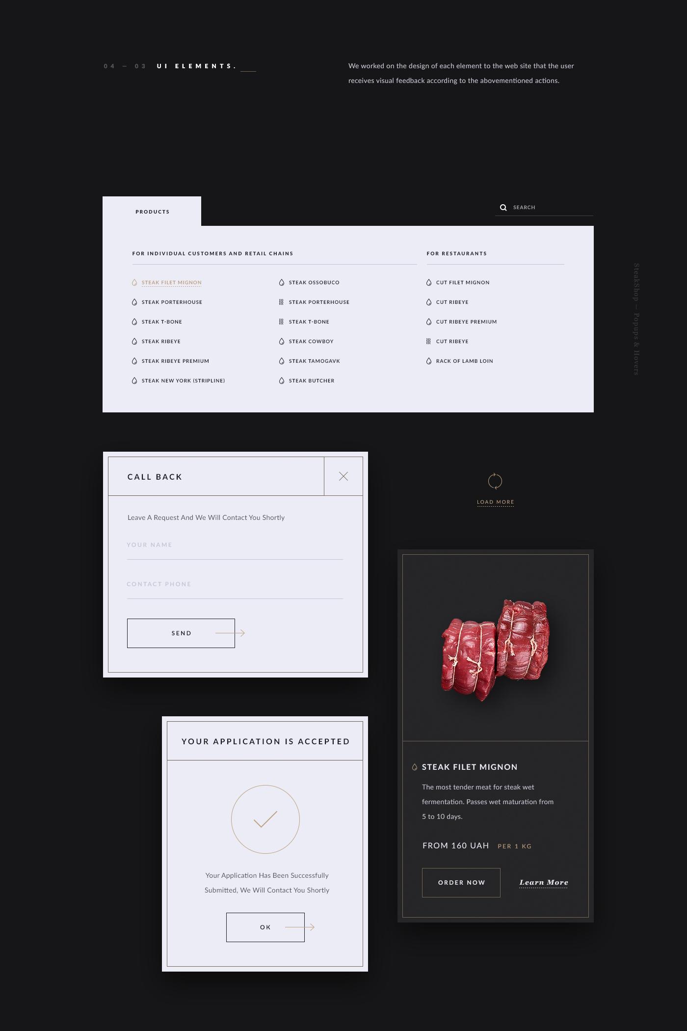 design UI ux wireframes Website site clean minimal photo meat