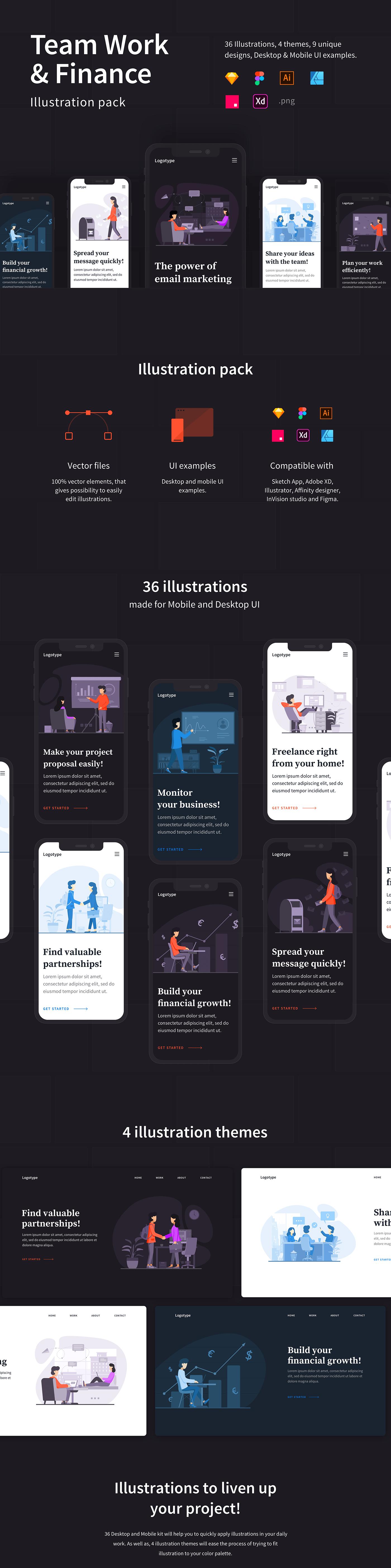 ILLUSTRATION  illustration pack Website desktop mobile UI vector modern sketch kit