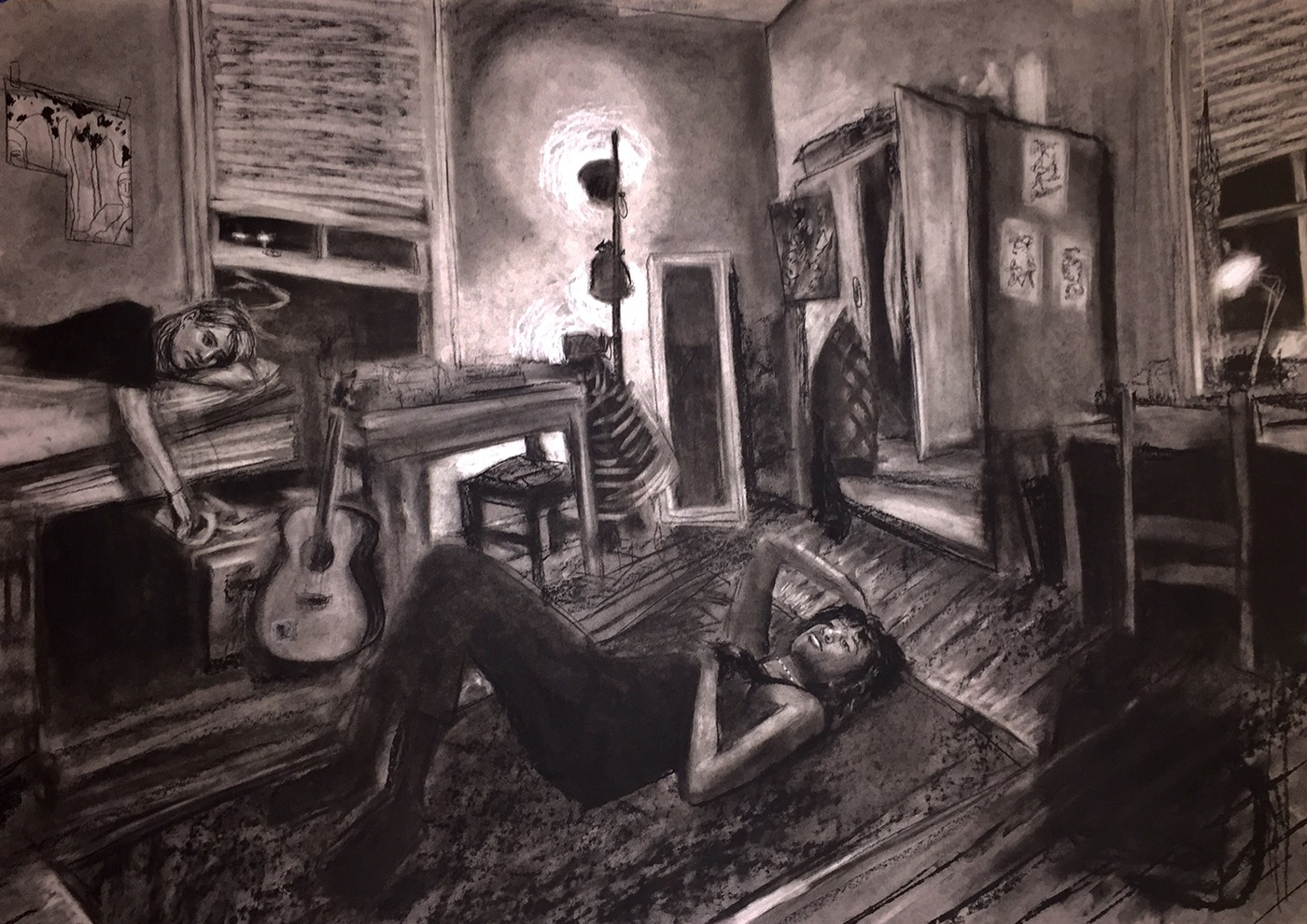 Perspective charcoal Drawing  dorm