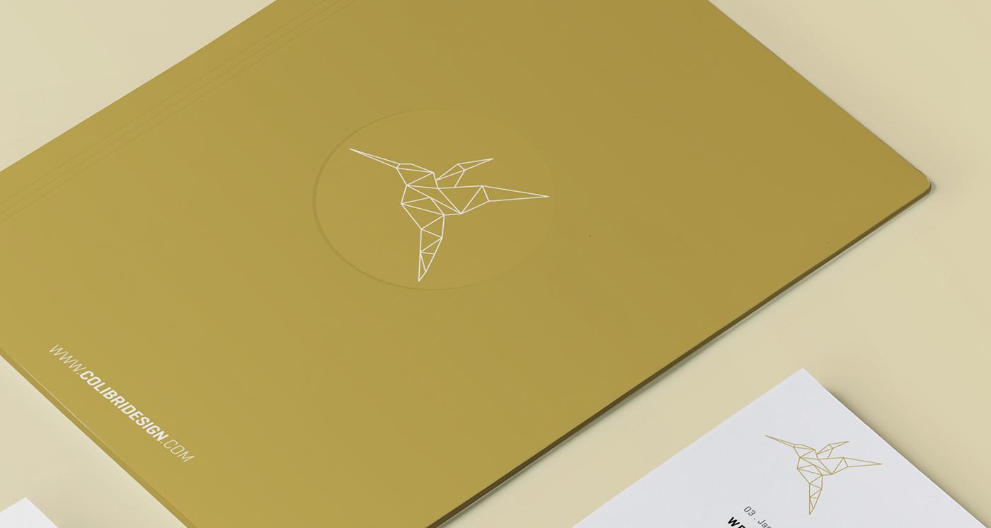 vector logo colibri gold branding  design graphic polygon identity