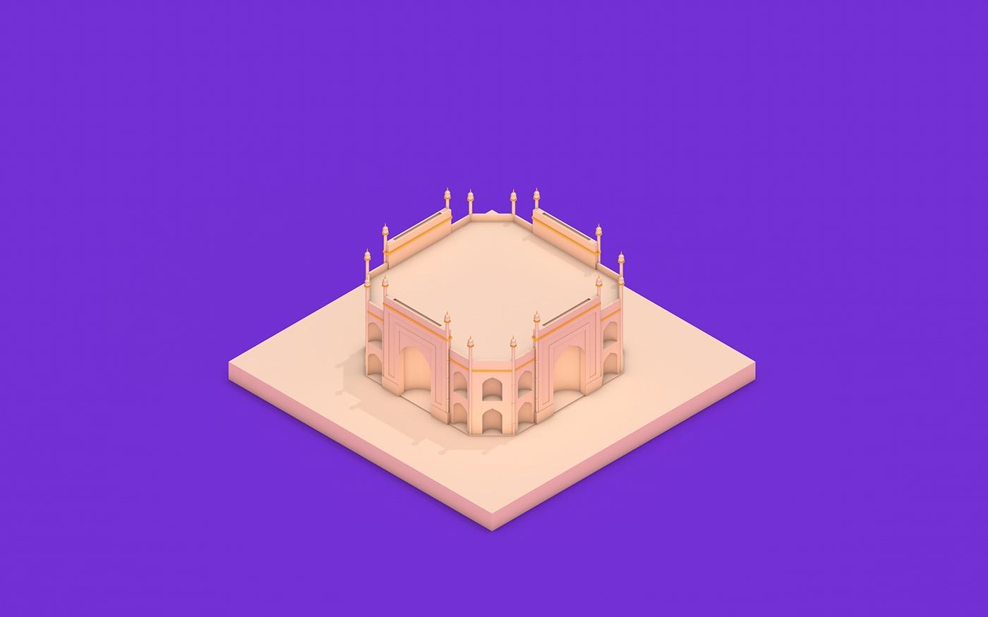3D,cinema4d,c4d,Tajmahal,Love,Isometric,models,building,India,architecture