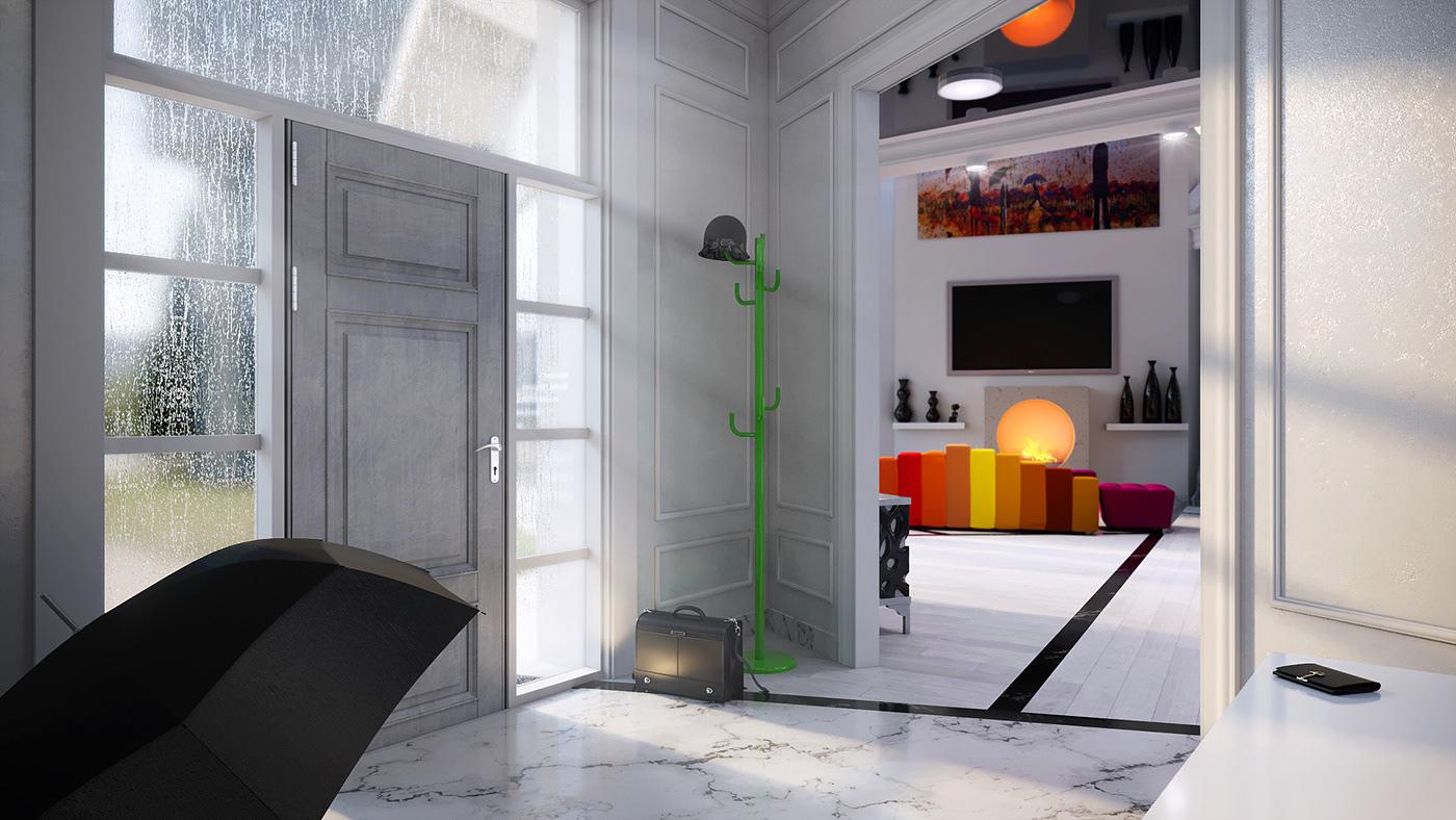 Image may contain: indoor, door and window