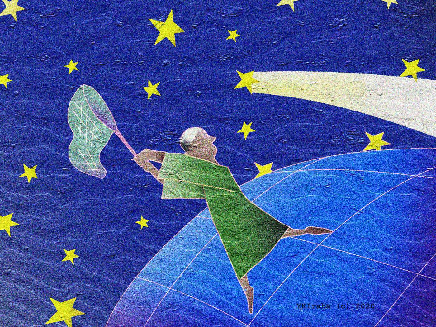 yukio kevin iraha's whimsical illustration about a guy try to catch comet.