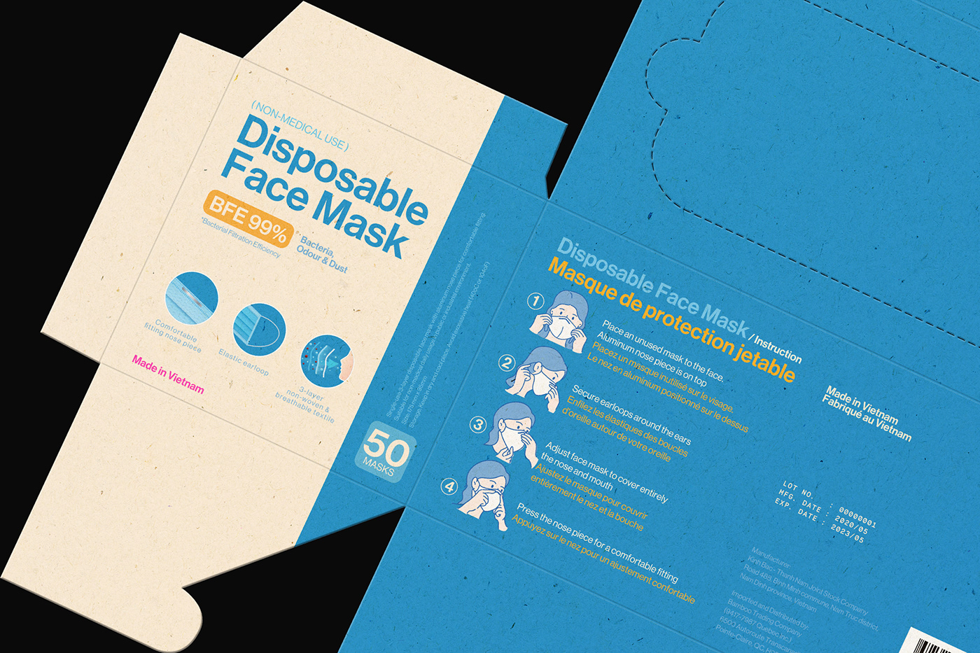 disposable export face mask package Packaging vietnam