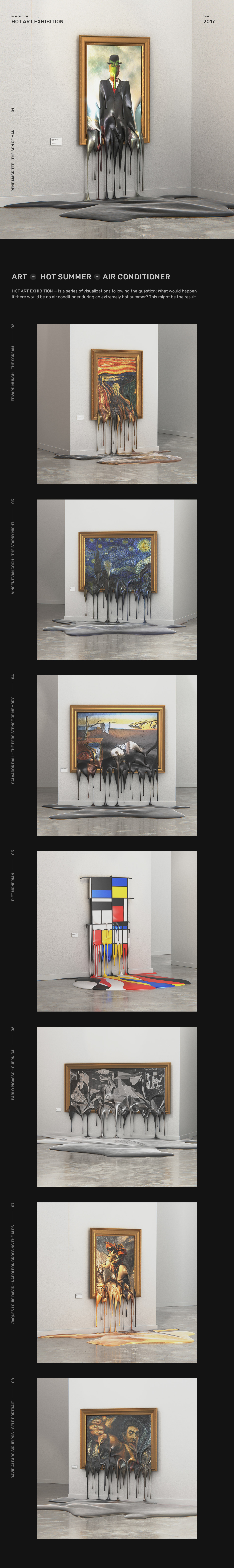 art Hot summer 3D visualization mondrian Edvard Munch pablo picasso rene magritte vincent van gogh