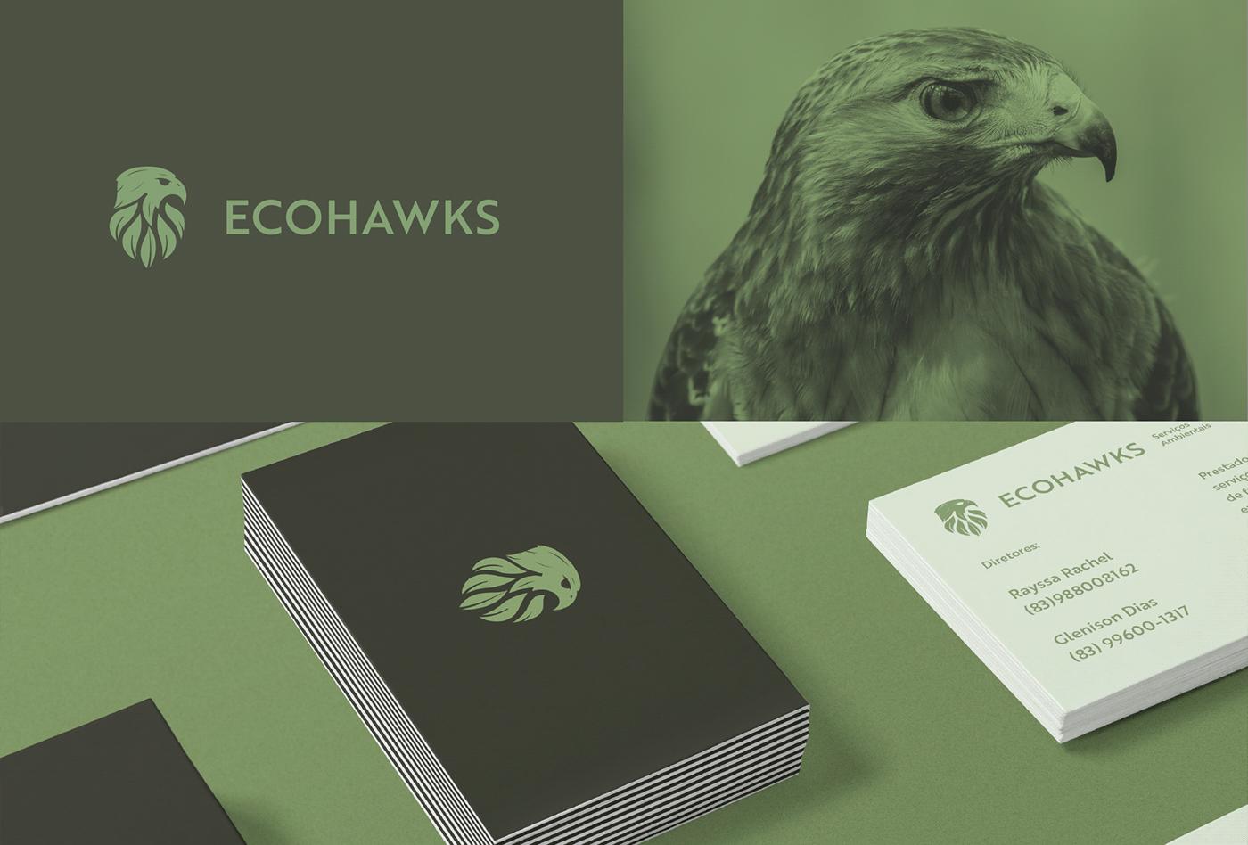 A imagem contém um logo verde com uma águia, uma imagem de uma águia e a marca em cartões de visita.
