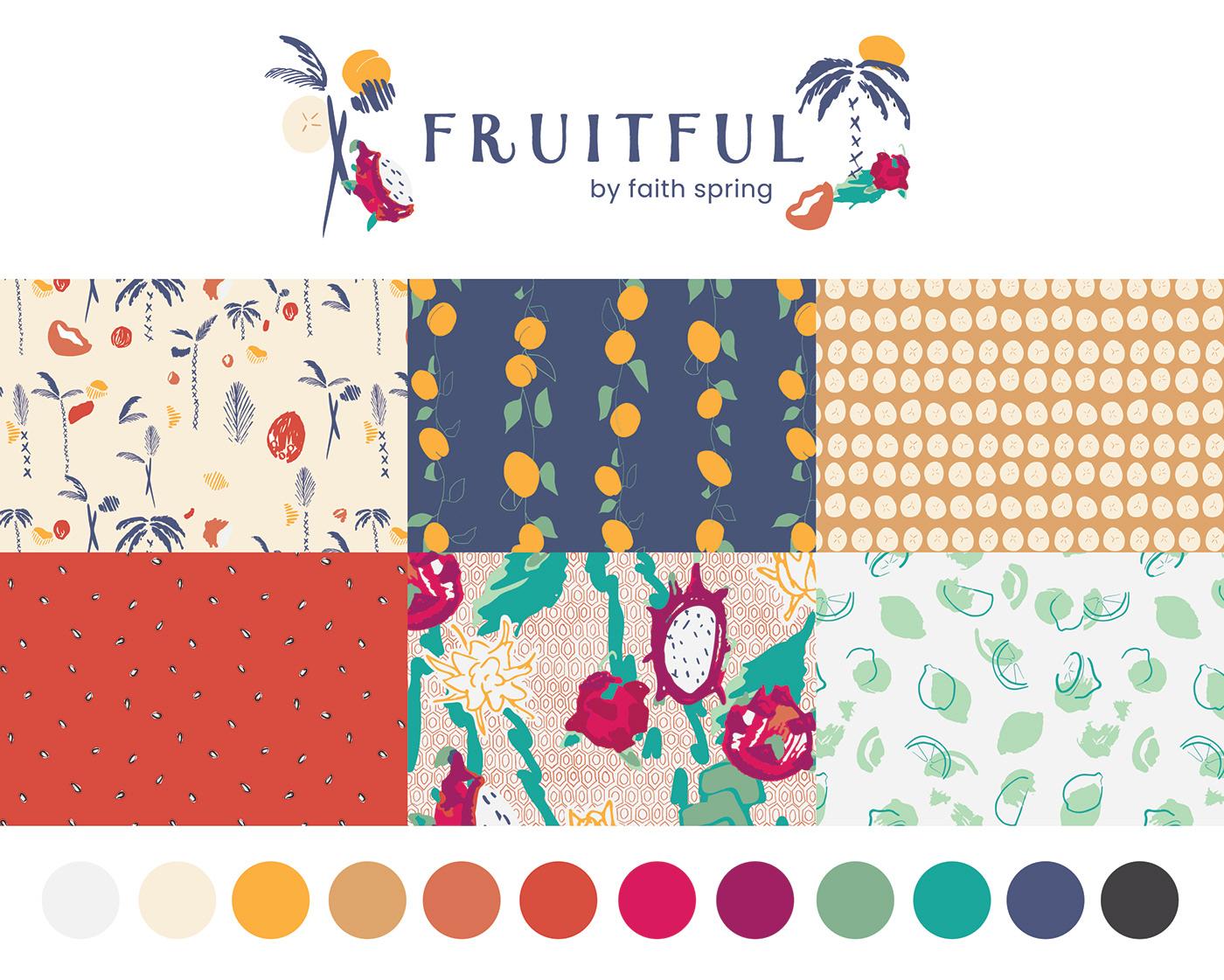 fabric design Fruit Illustration fruit prints graphic design  pattern design  print design  surface design surface pattern design textile design  Wallpaper design