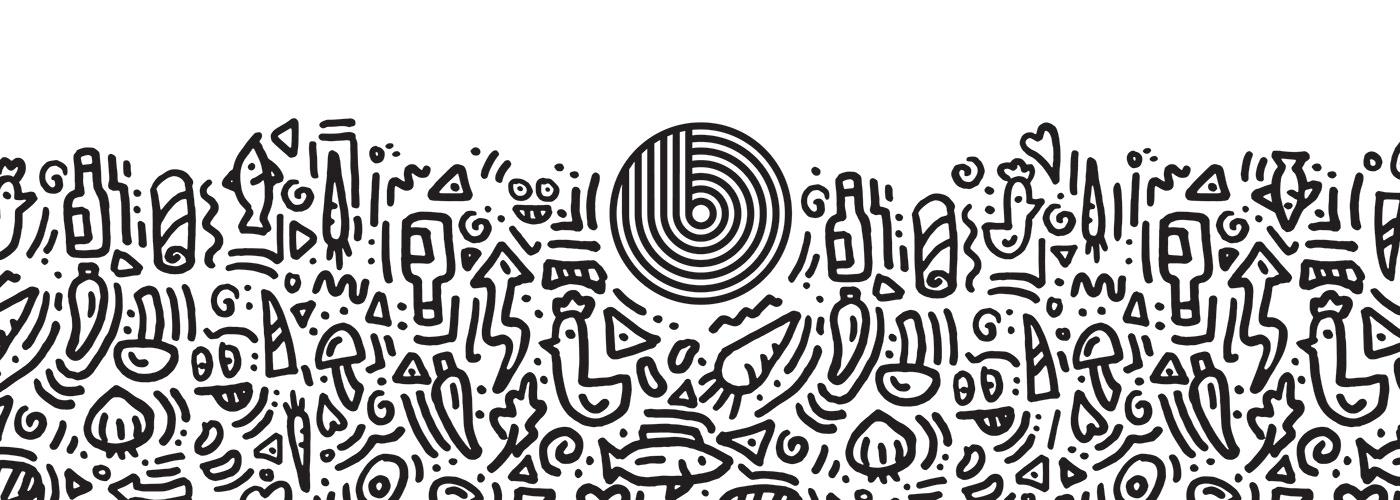 branding  pattern ILLUSTRATION  streetwear restaurant Food  design doodle japanese wave