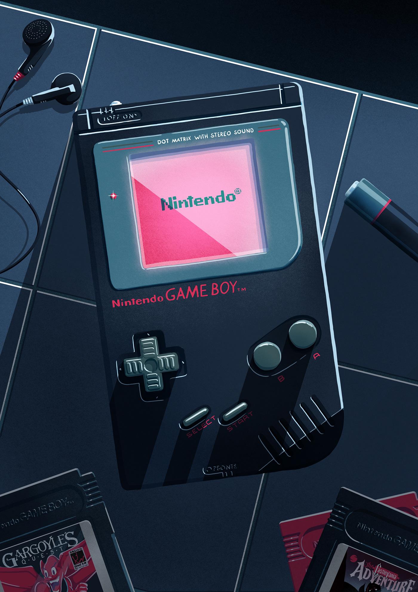 flat game boy Games graphic illustrations minimal Nintendo Super Mario vector video game
