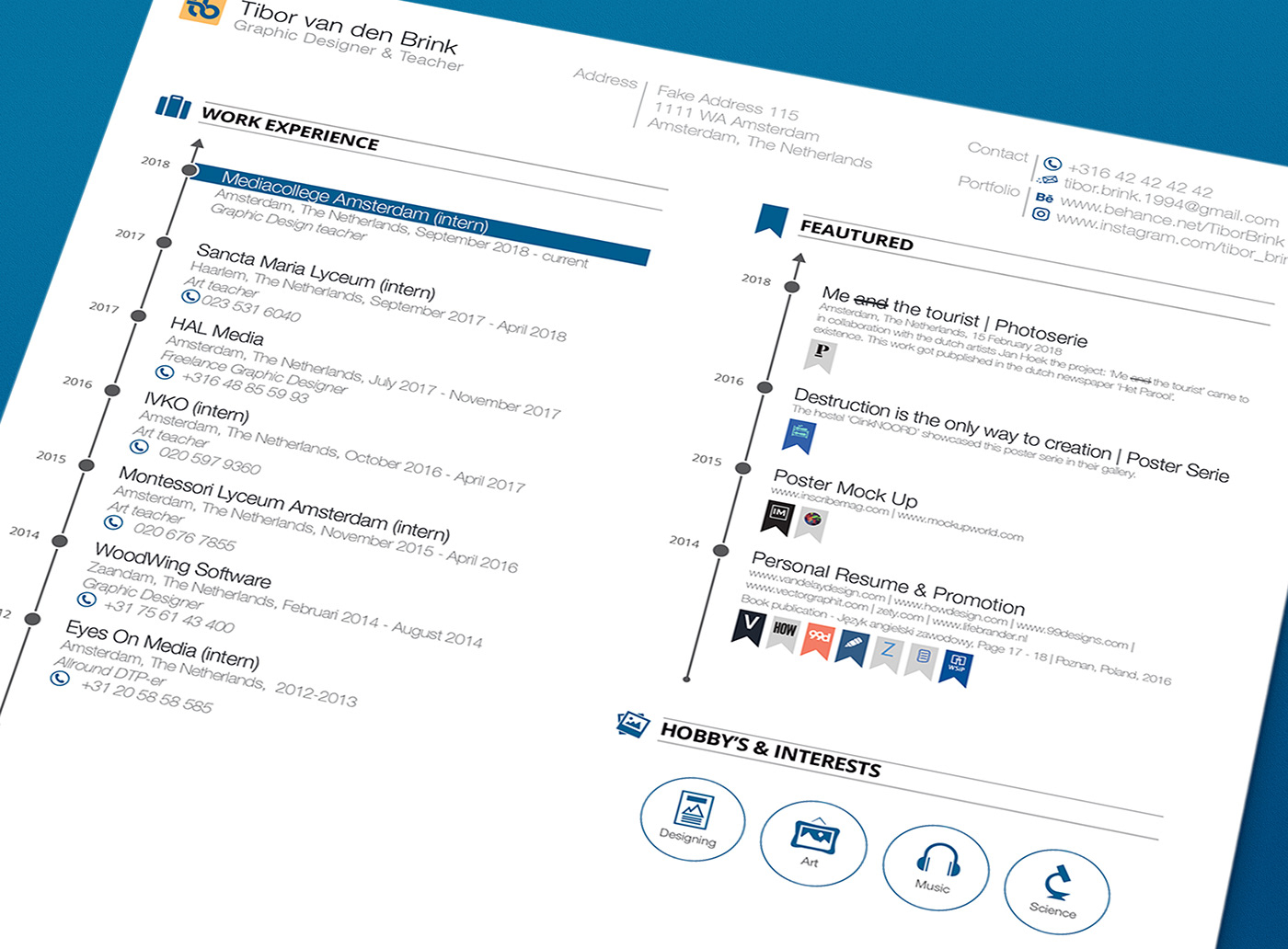 Resume CV brand Promotion resume mock-up advertisement infographic Curriculum Vitae creative tibor