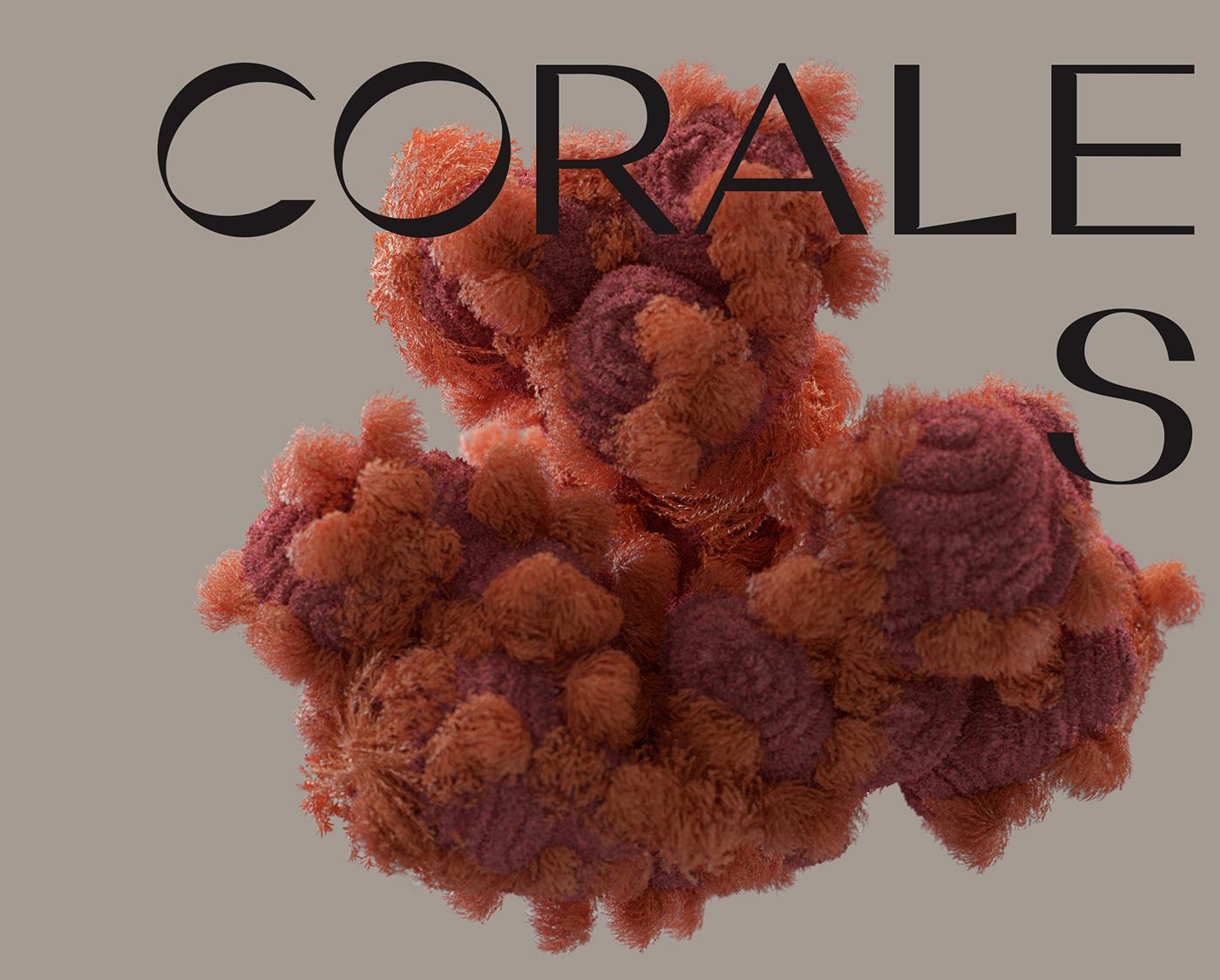 3D artwork c4d CGI colorful coral organic rock seabed visual