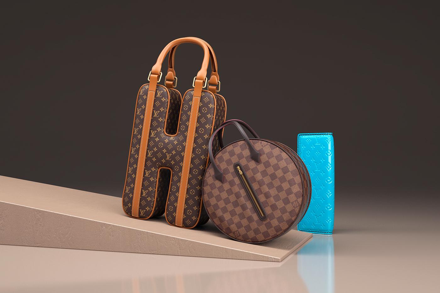 Louis vuitton bags letters CGI 3D Type 3D typography colour leather fabric design art