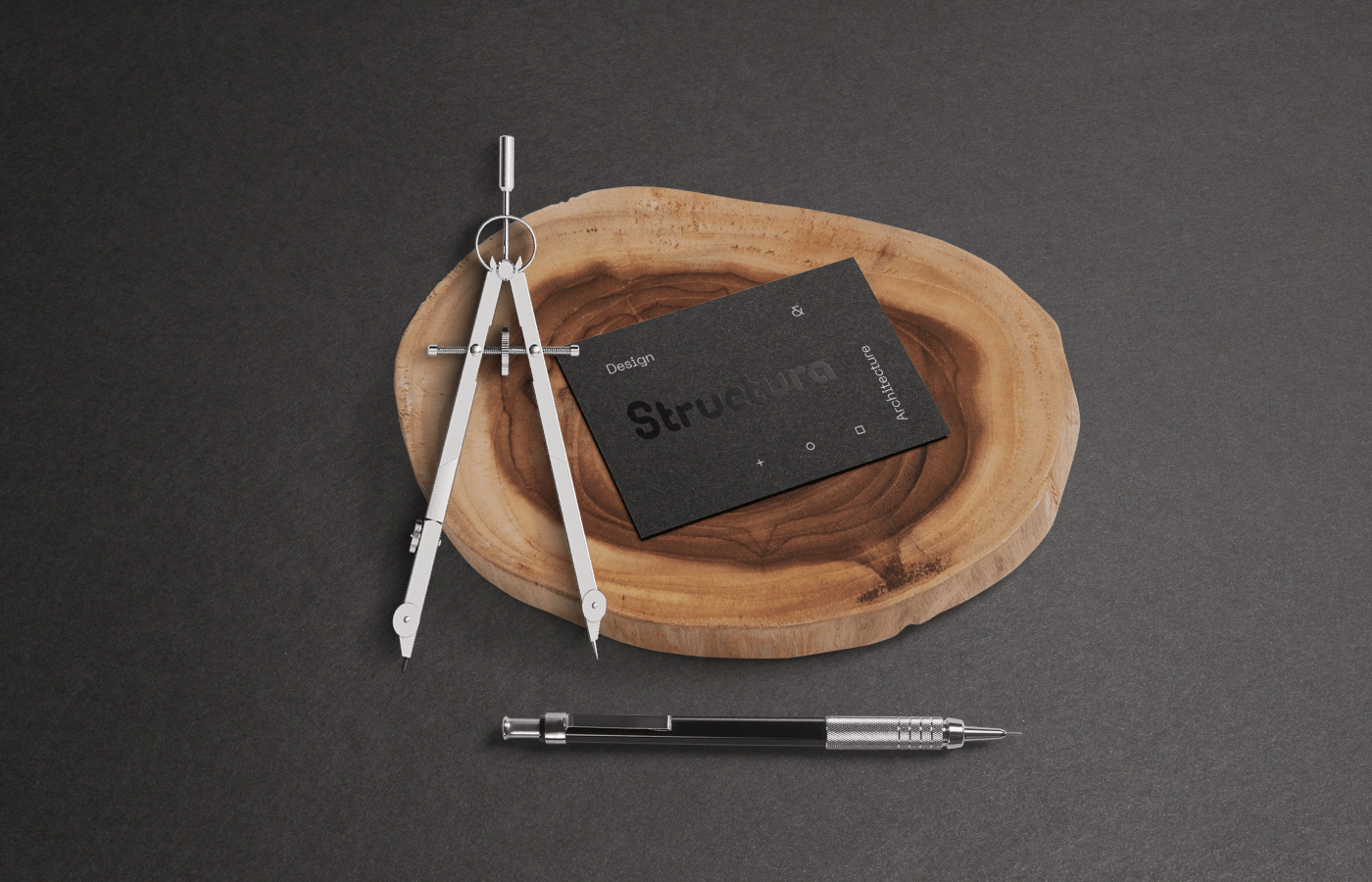 Structura Business Card on wooden plate