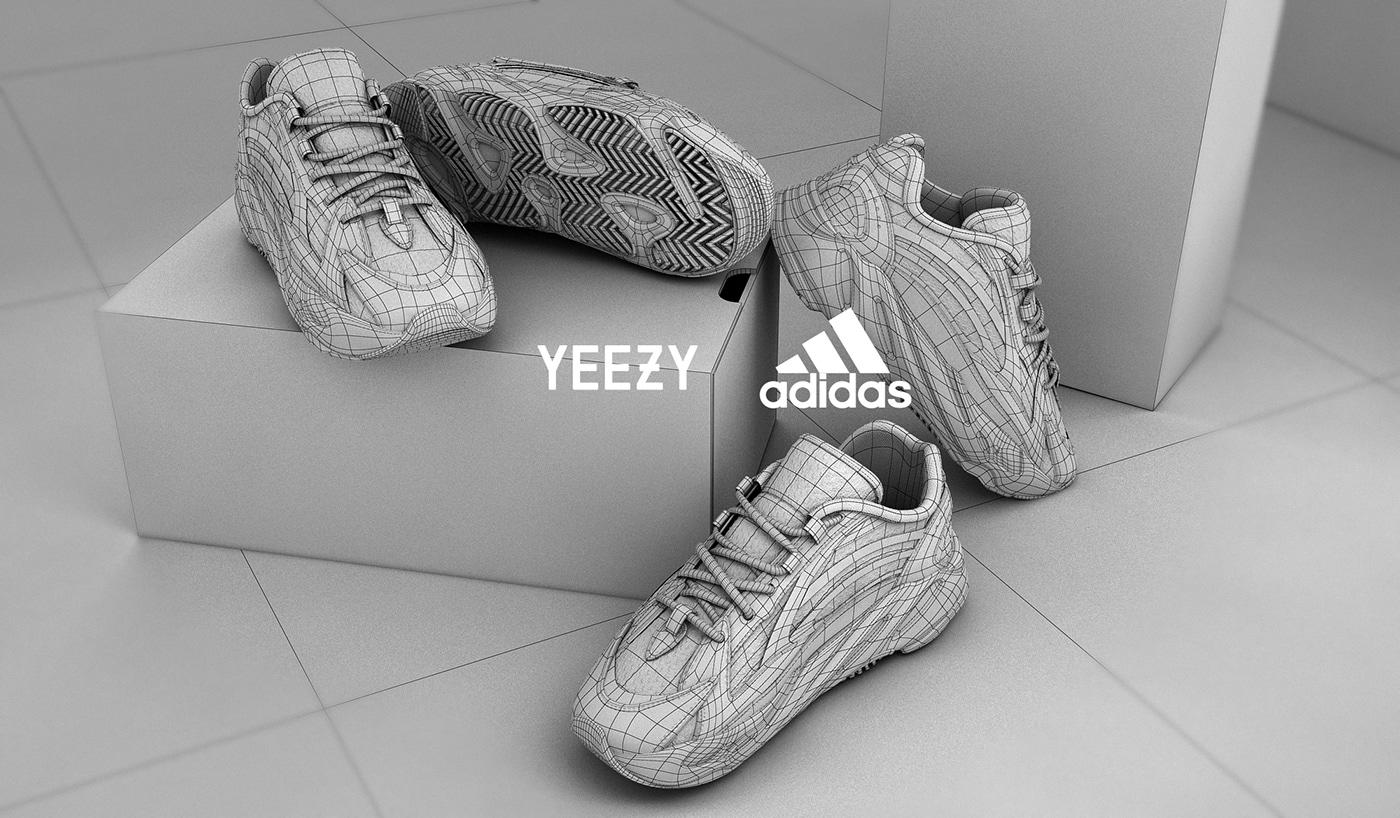 Fashion  kanye yeezy adidas shoes sneaker 3D CGI concept design