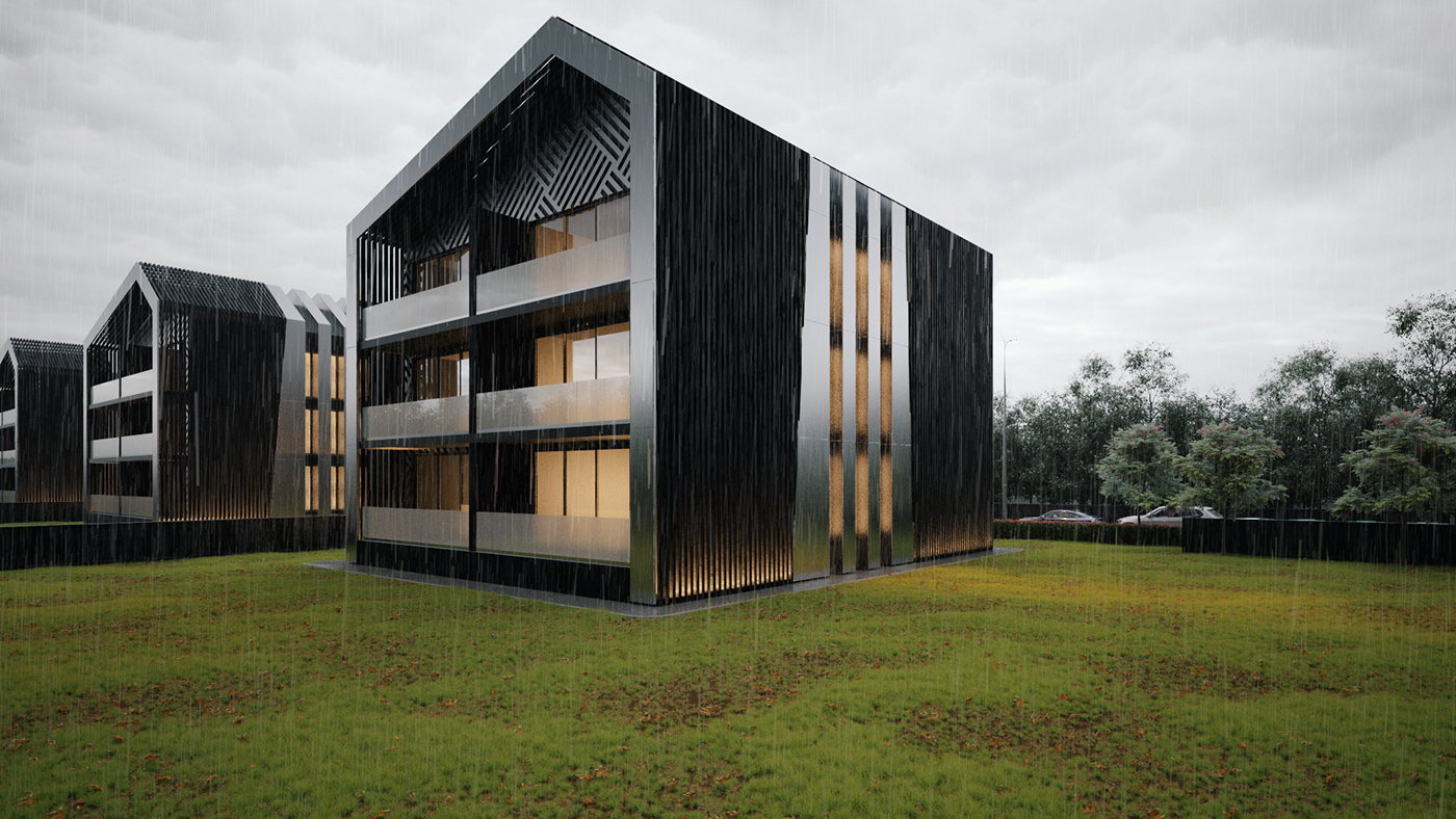 norway exterior 3d Visualizations house idea BlackBell