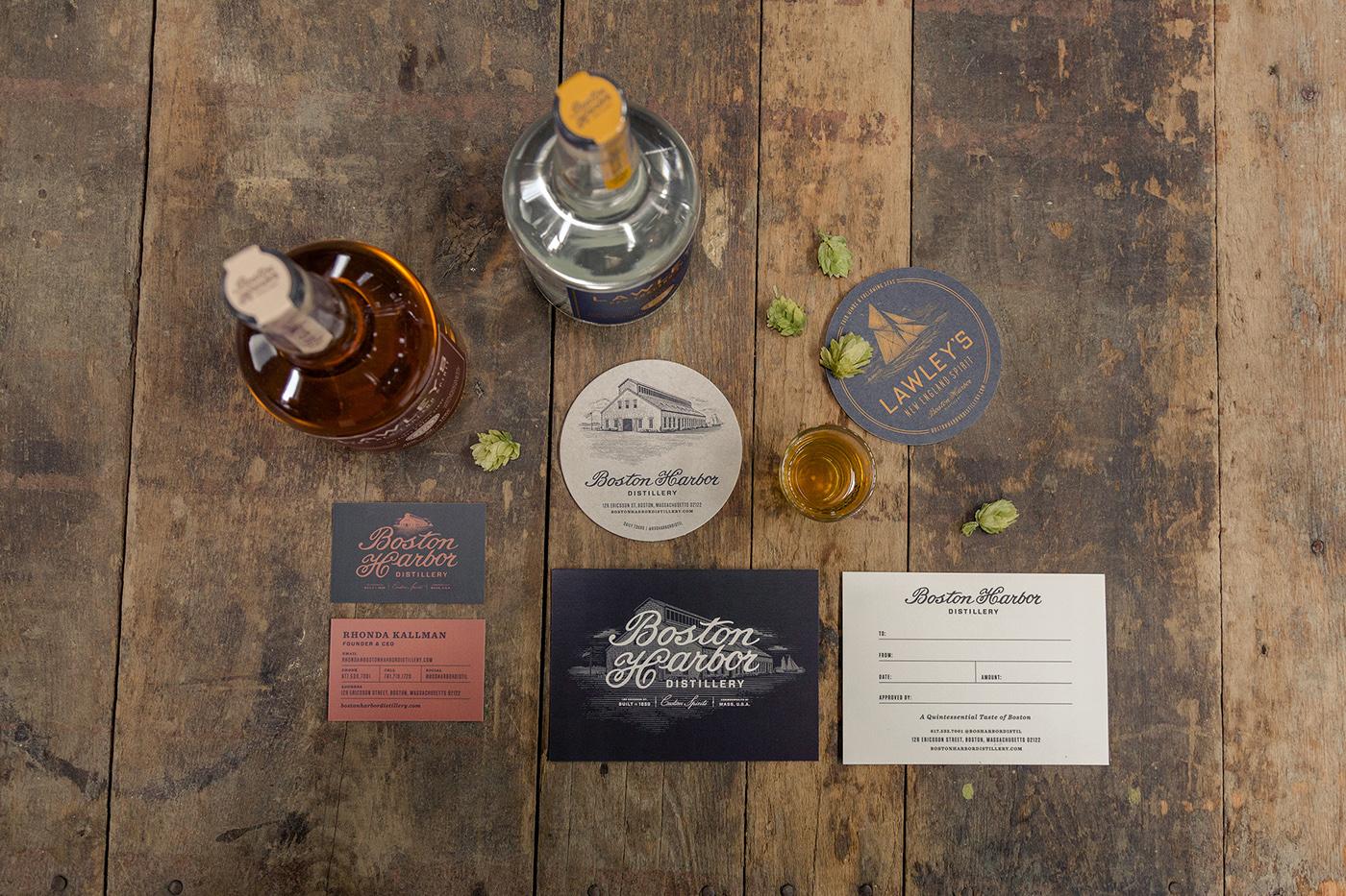 brand identity logo distillery craft distillery boston liquor packaging New England lettering Script HAND LETTERING