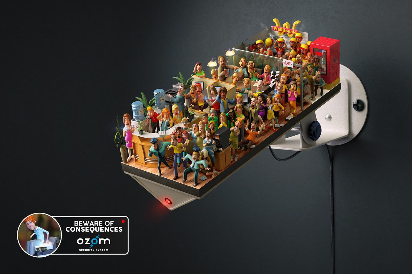 3D camera chile ozom security sodimac ILLUSTRATION  photoshop retouch CGI