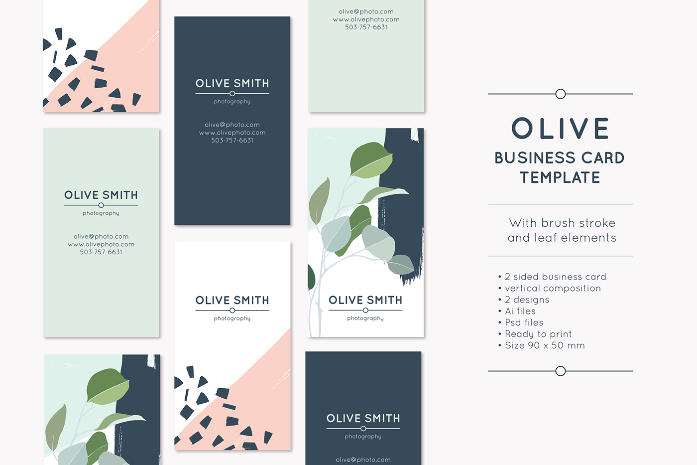 OLIVE business card template on Behance