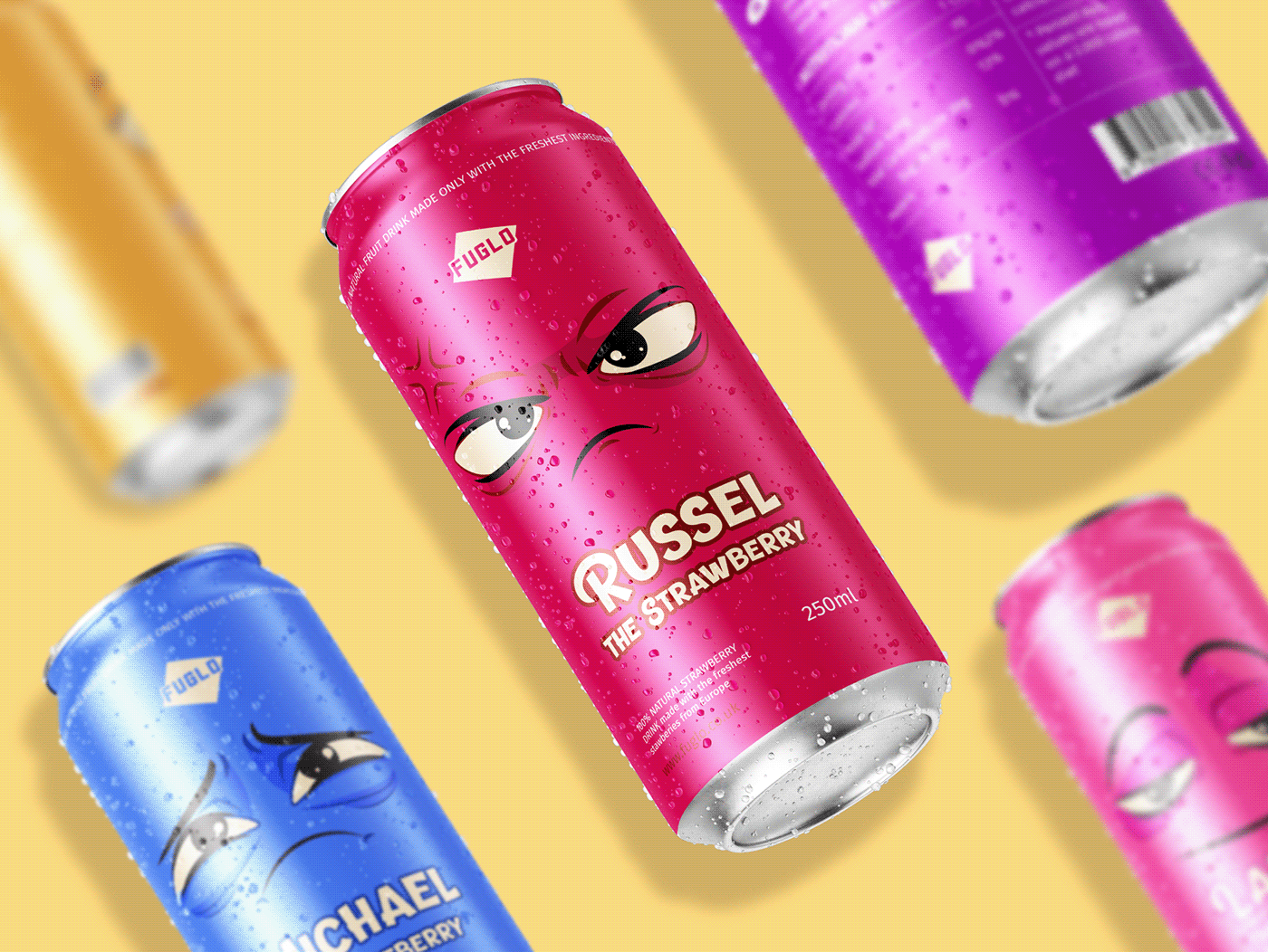 mockup of soda cans on a yellow background