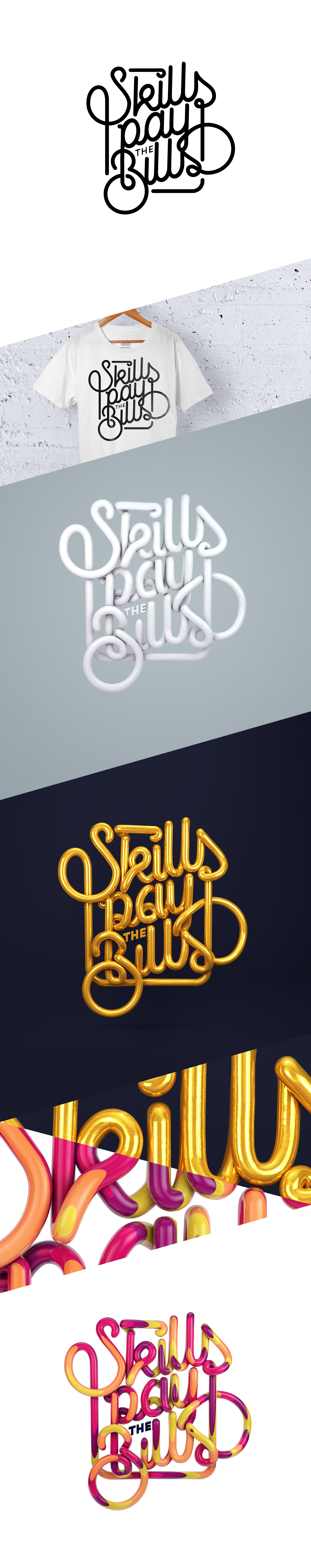 skills Pay the bills claudiosc8 3D lettering rendering