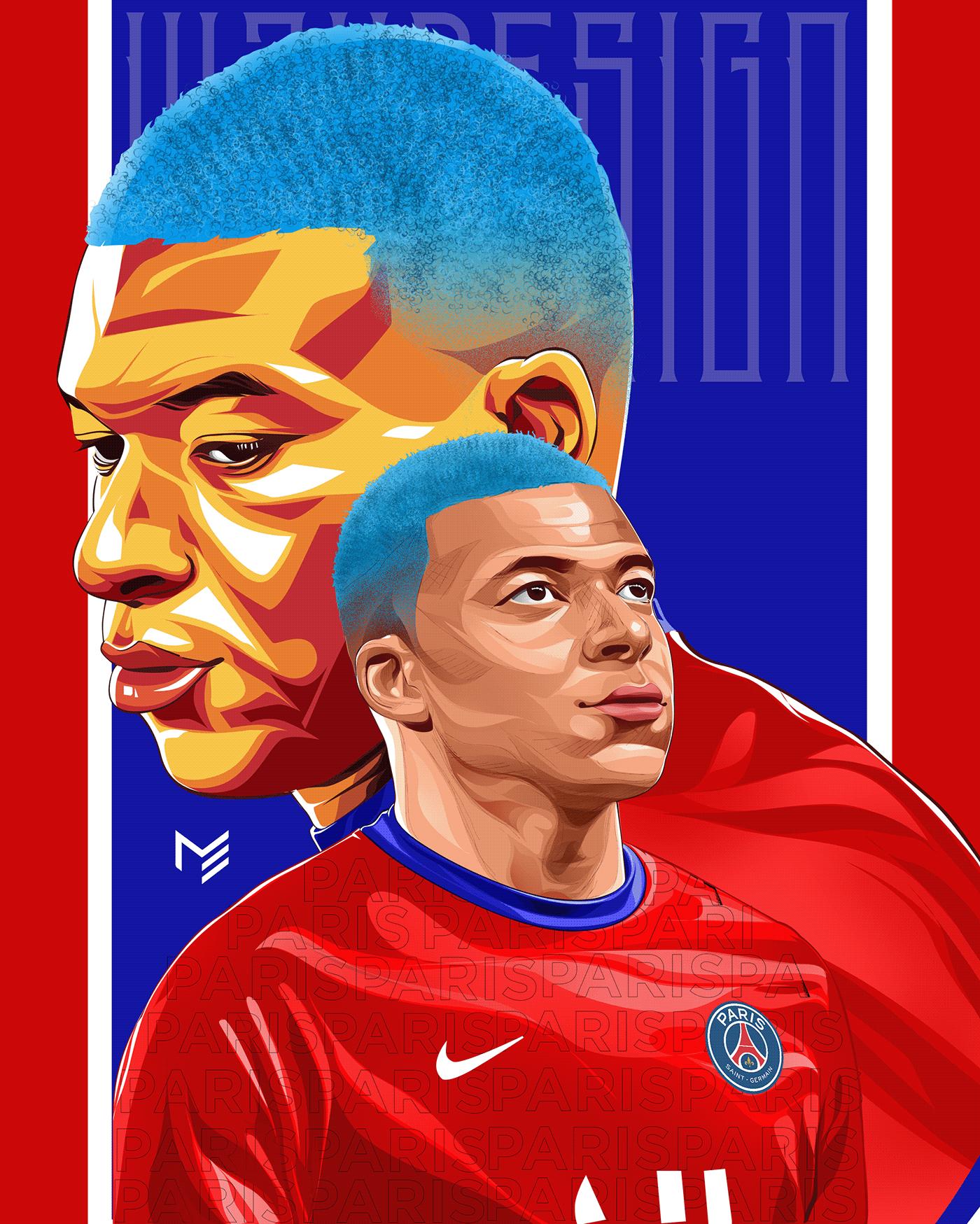 art design football france graphicdesign ILLUSTRATION  Kylian Mbappé PSG vectorart vexel