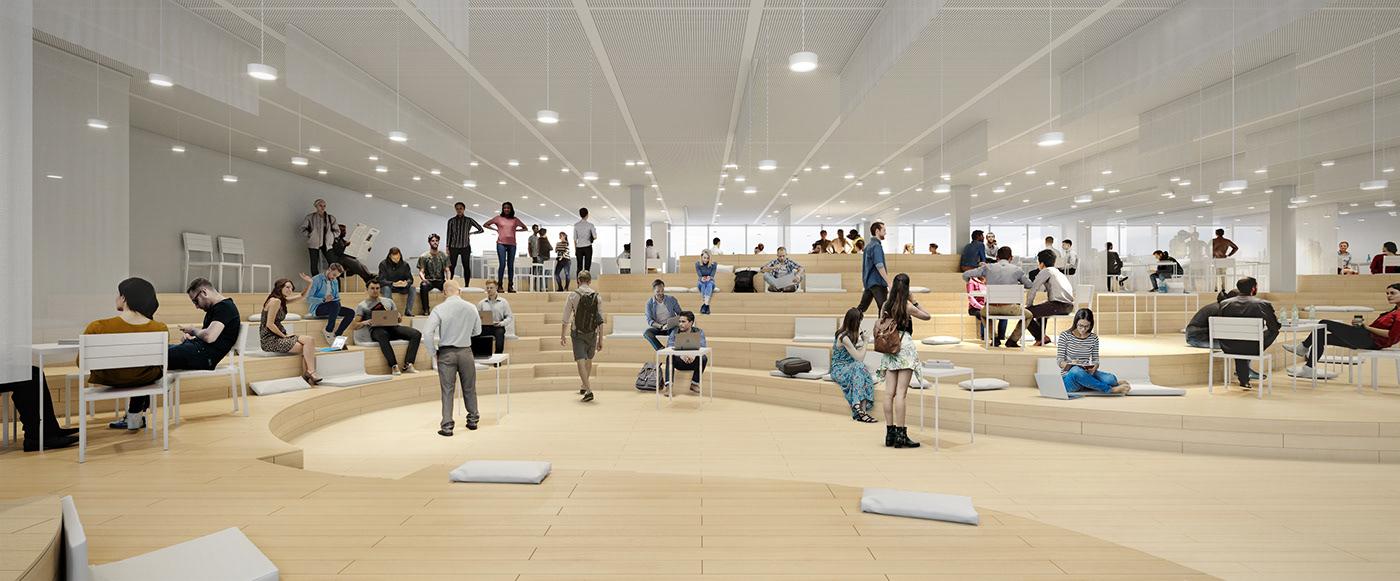 architecture Competition future library learningspace genoa University design Interior